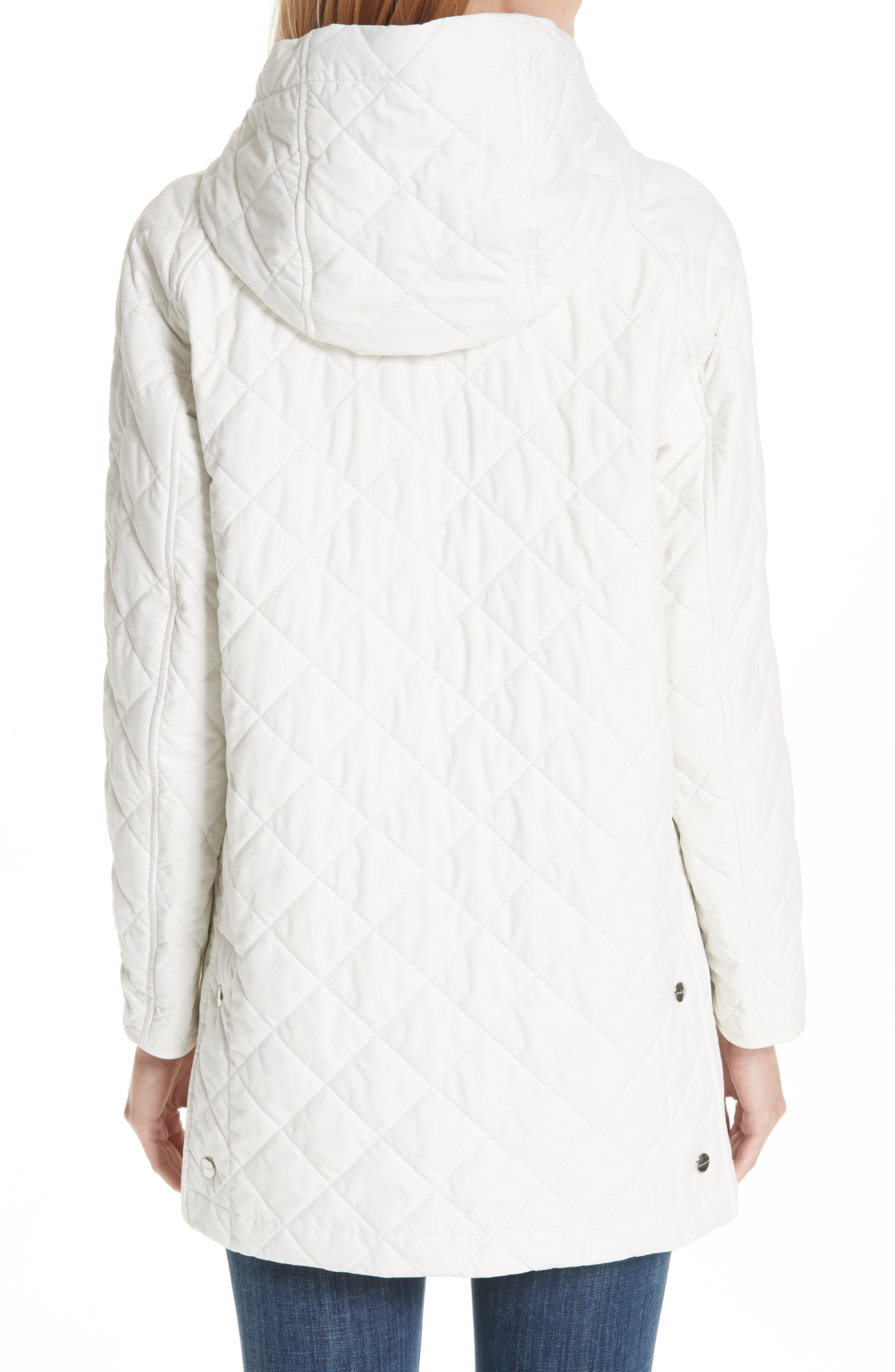 BURBERRY, Roxwell Embroidered Archive Logo Quilted Coat, Alternate thumbnail 2, color, 100