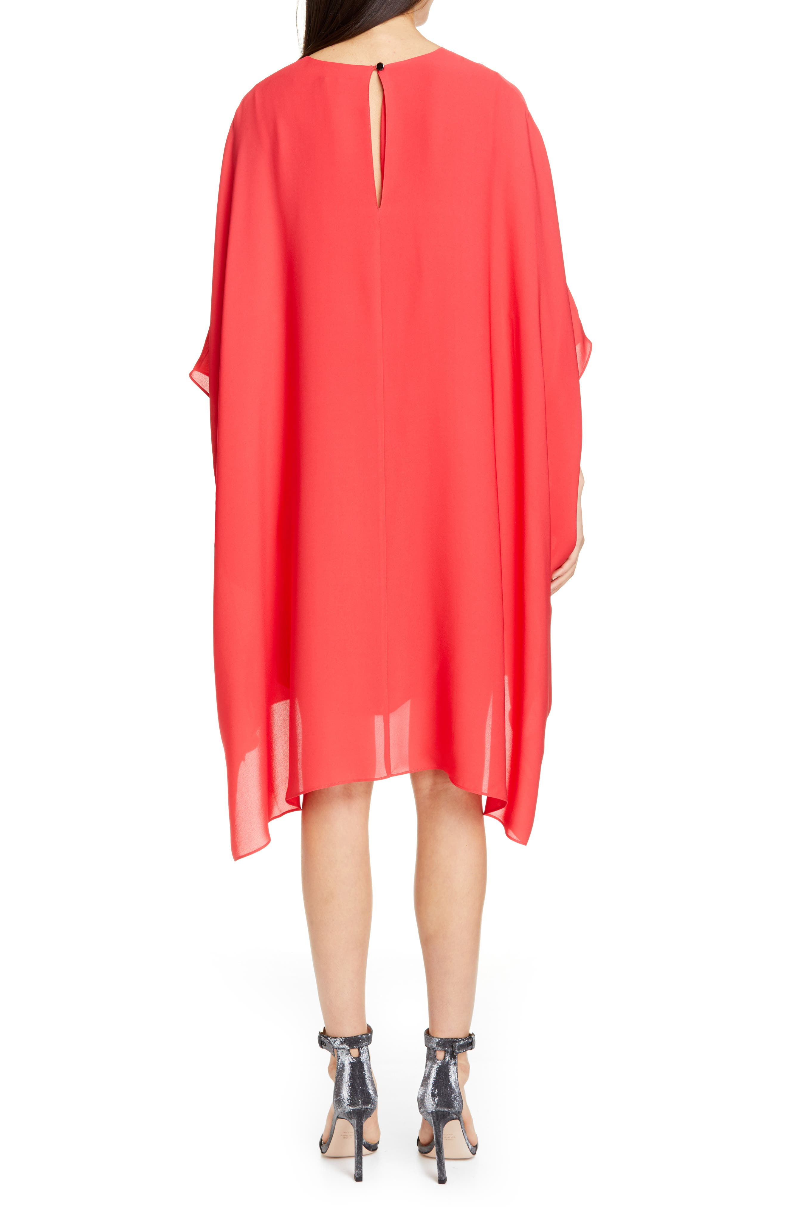 ST. JOHN COLLECTION, Draped Satin Silk Georgette Dress, Alternate thumbnail 2, color, CRIMSON
