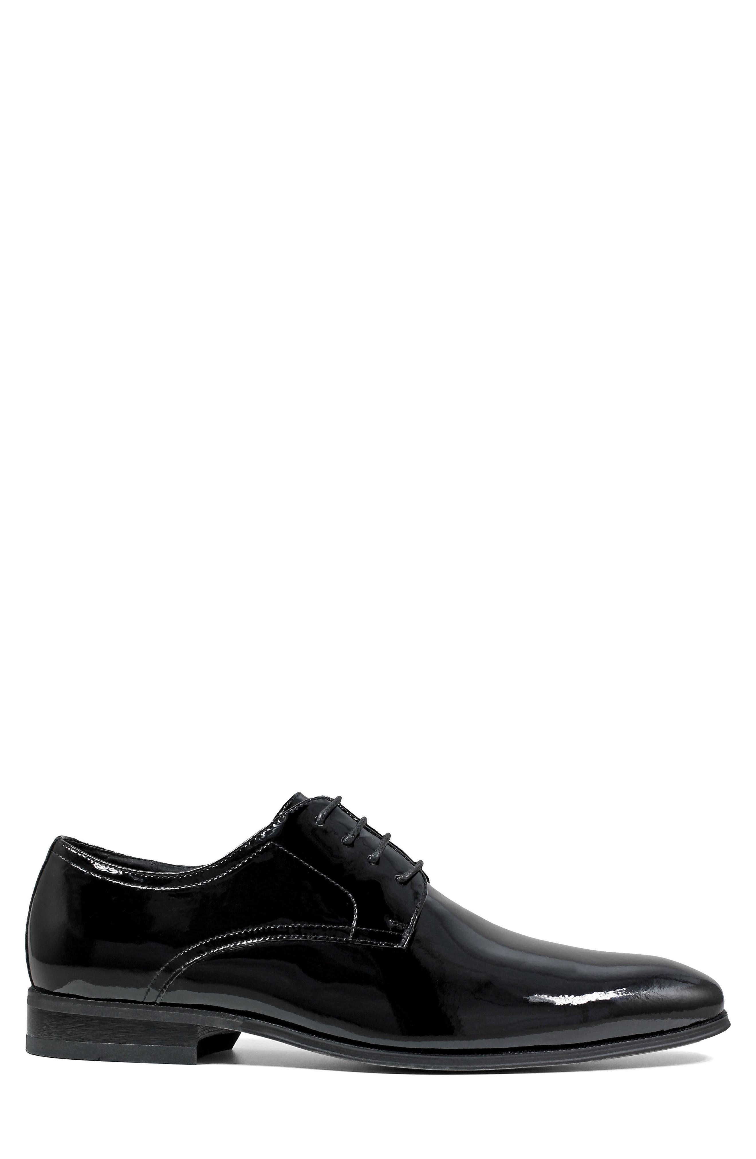 FLORSHEIM, Tux Plain Toe Derby, Alternate thumbnail 3, color, BLACK PATENT LEATHER