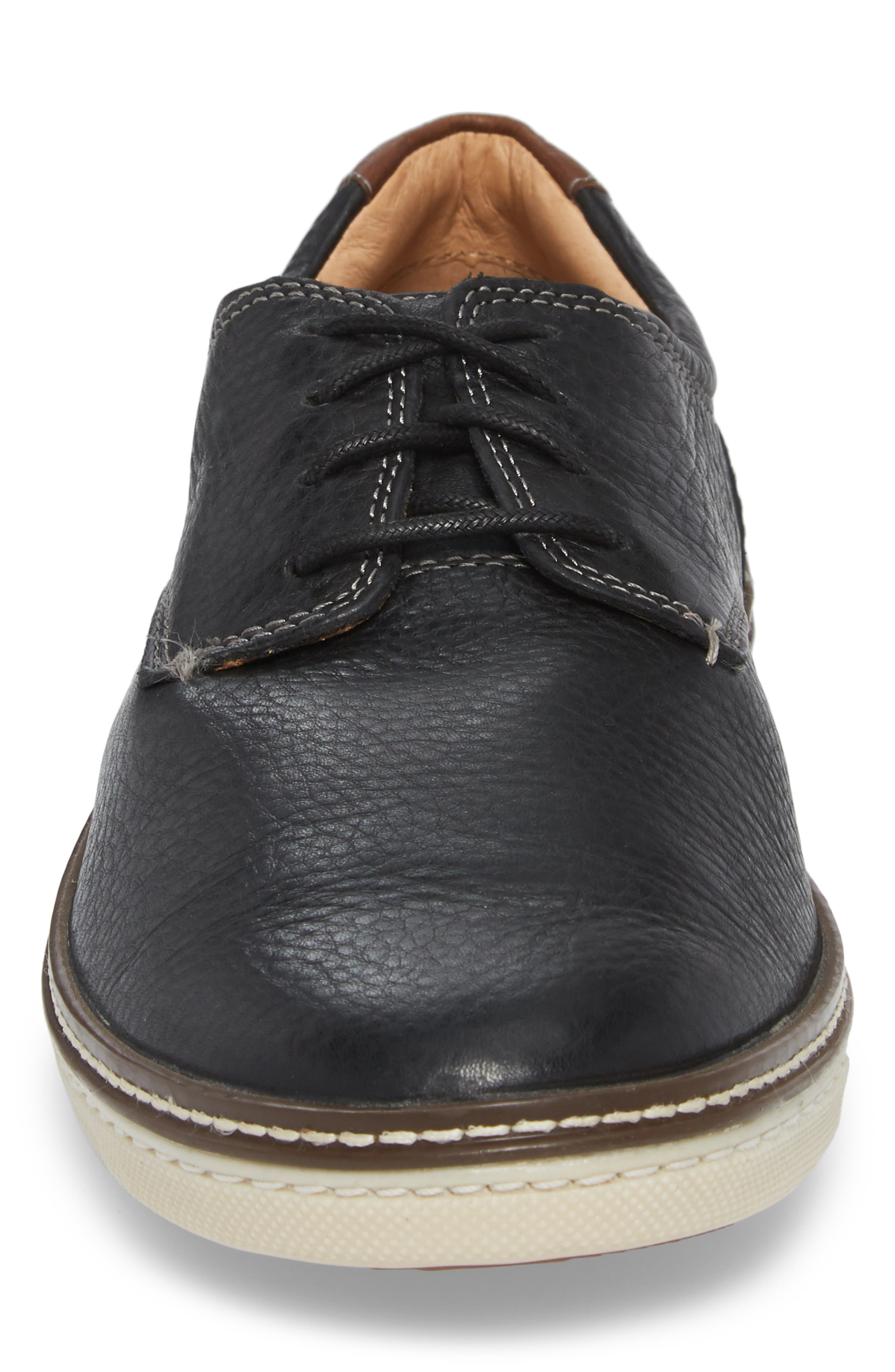 JOHNSTON & MURPHY, McGuffey Derby Sneaker, Alternate thumbnail 4, color, BLACK LEATHER