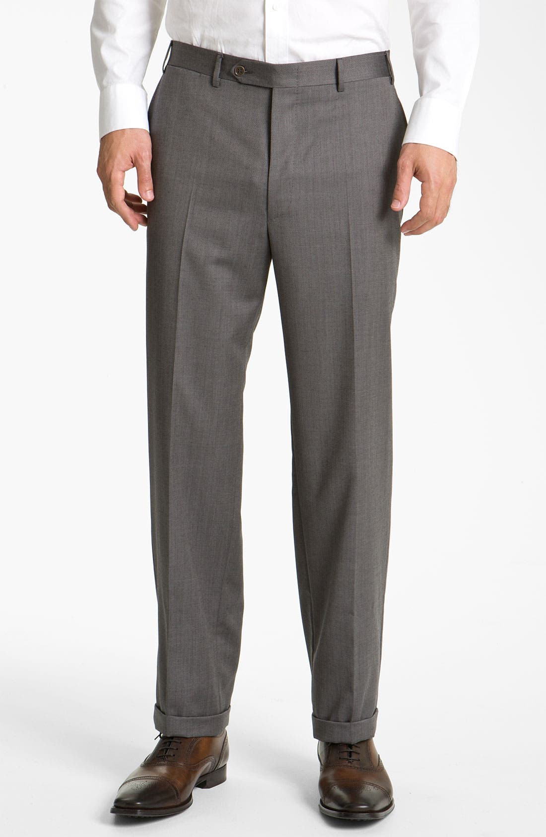 CANALI, Flat Front Wool Trousers, Main thumbnail 1, color, GREY