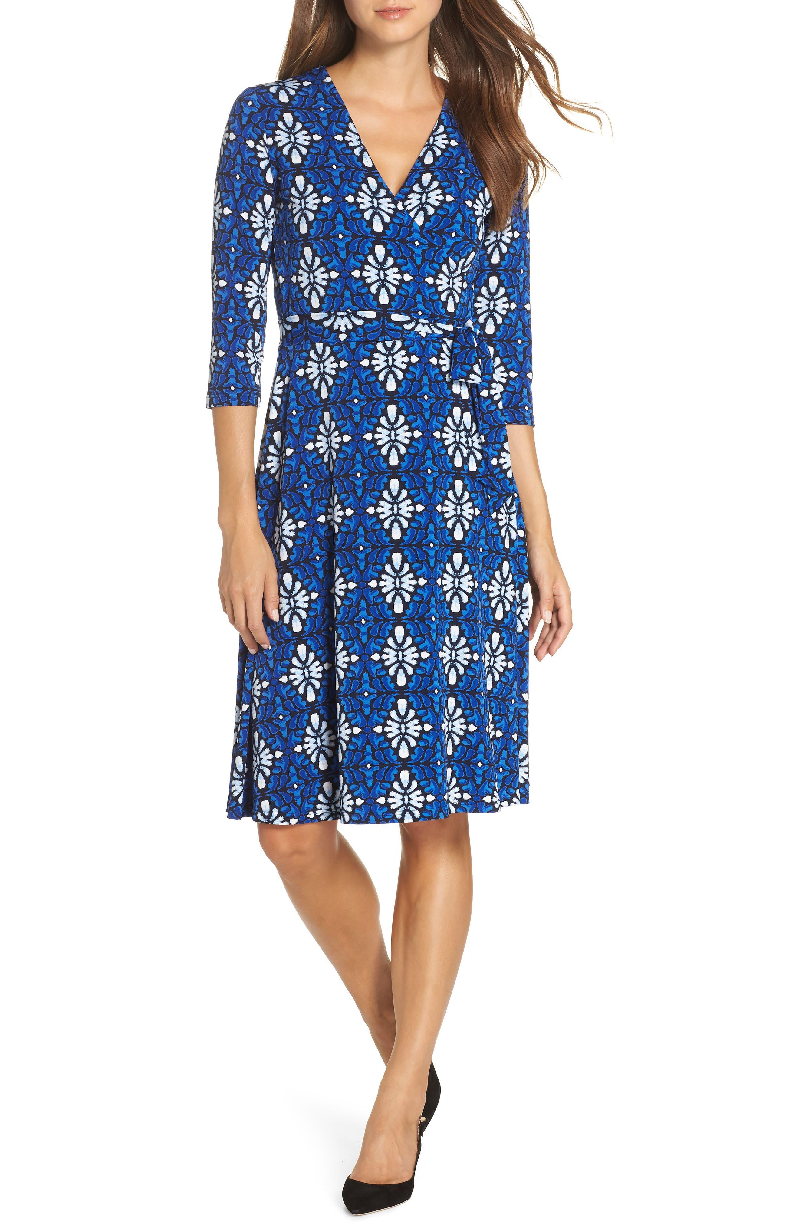 Leota Print Jersey Faux Wrap Dress, Blue