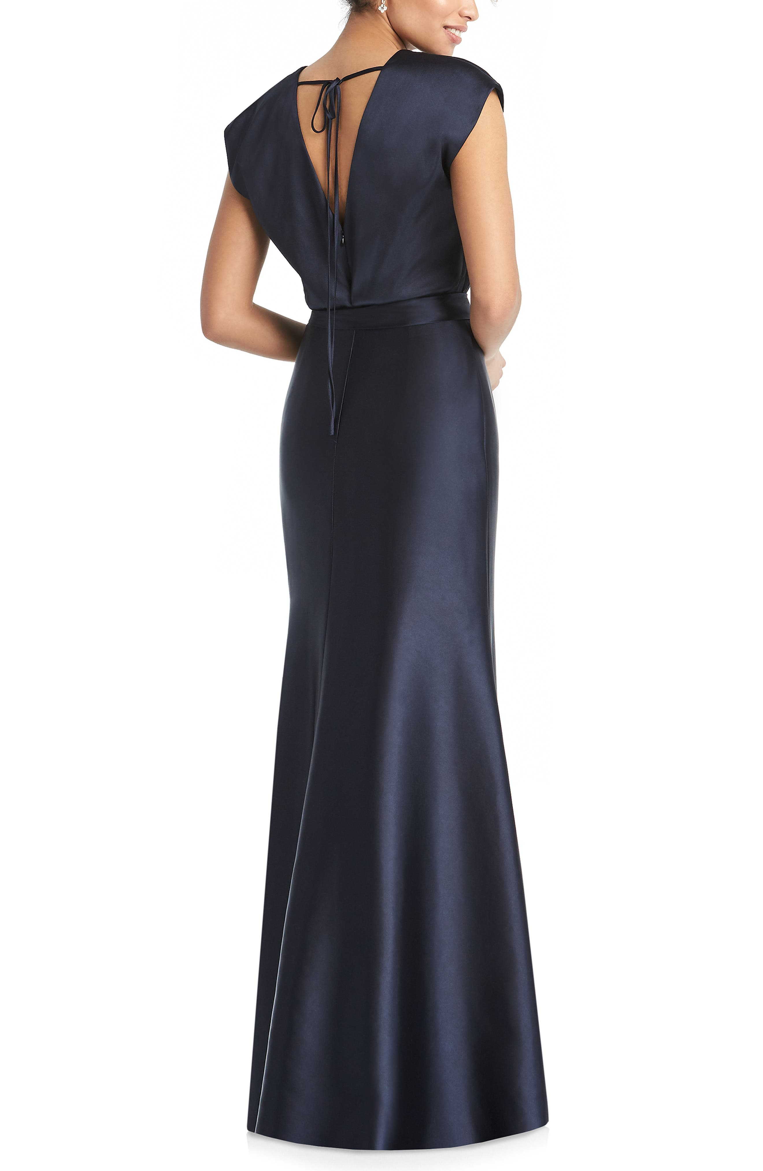 DESSY COLLECTION, V-Neck Stretch Chameuse Gown, Alternate thumbnail 2, color, MIDNIGHT