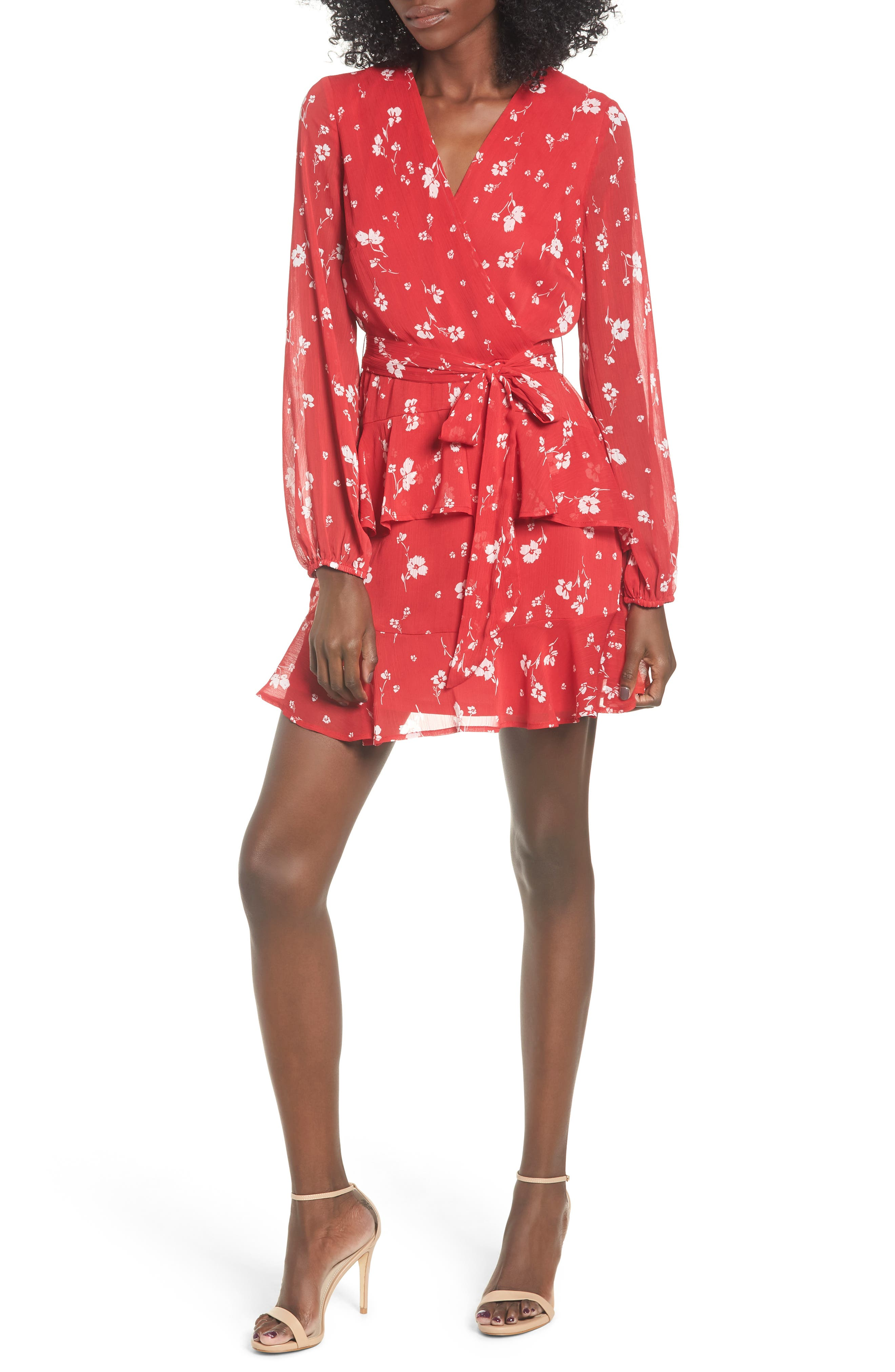 Love, Fire Tiered Wrap Dress, Red