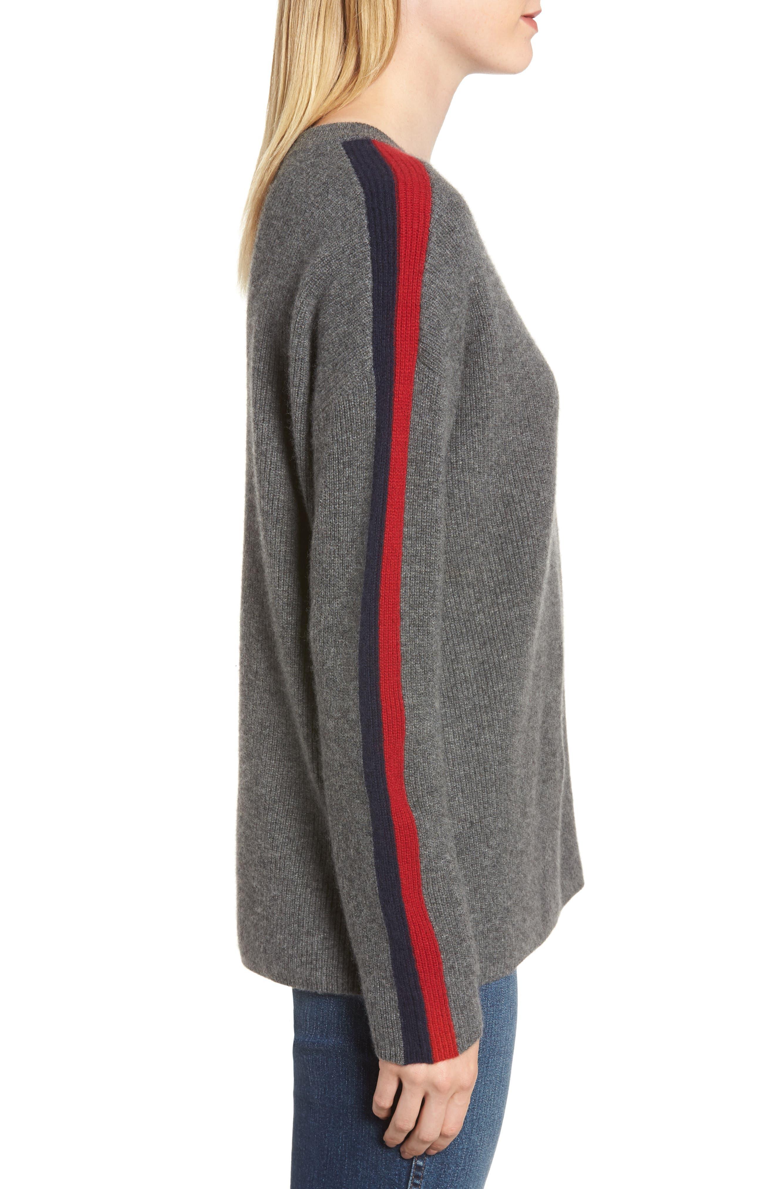 VELVET BY GRAHAM & SPENCER, Stripe Sleeve Cashmere Sweater, Alternate thumbnail 3, color, DARK GREY