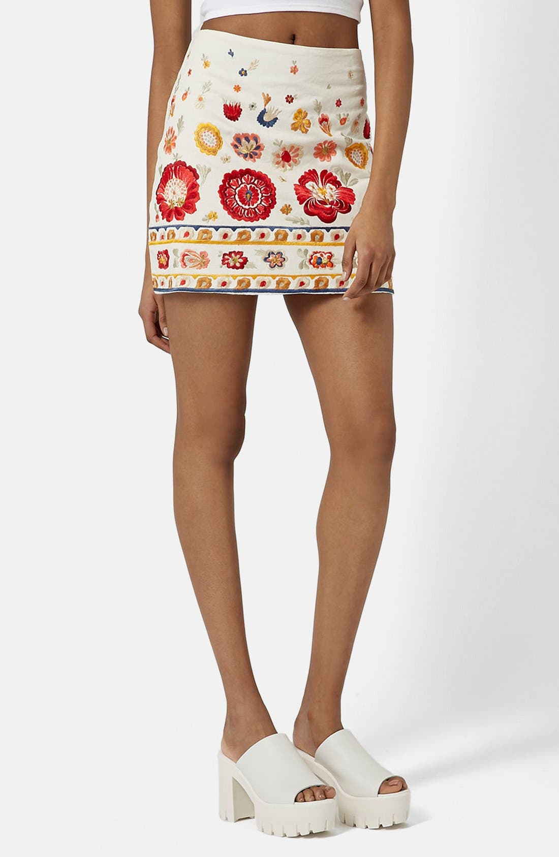 TOPSHOP, 'Troubadour' Embroidered Miniskirt, Main thumbnail 1, color, 900