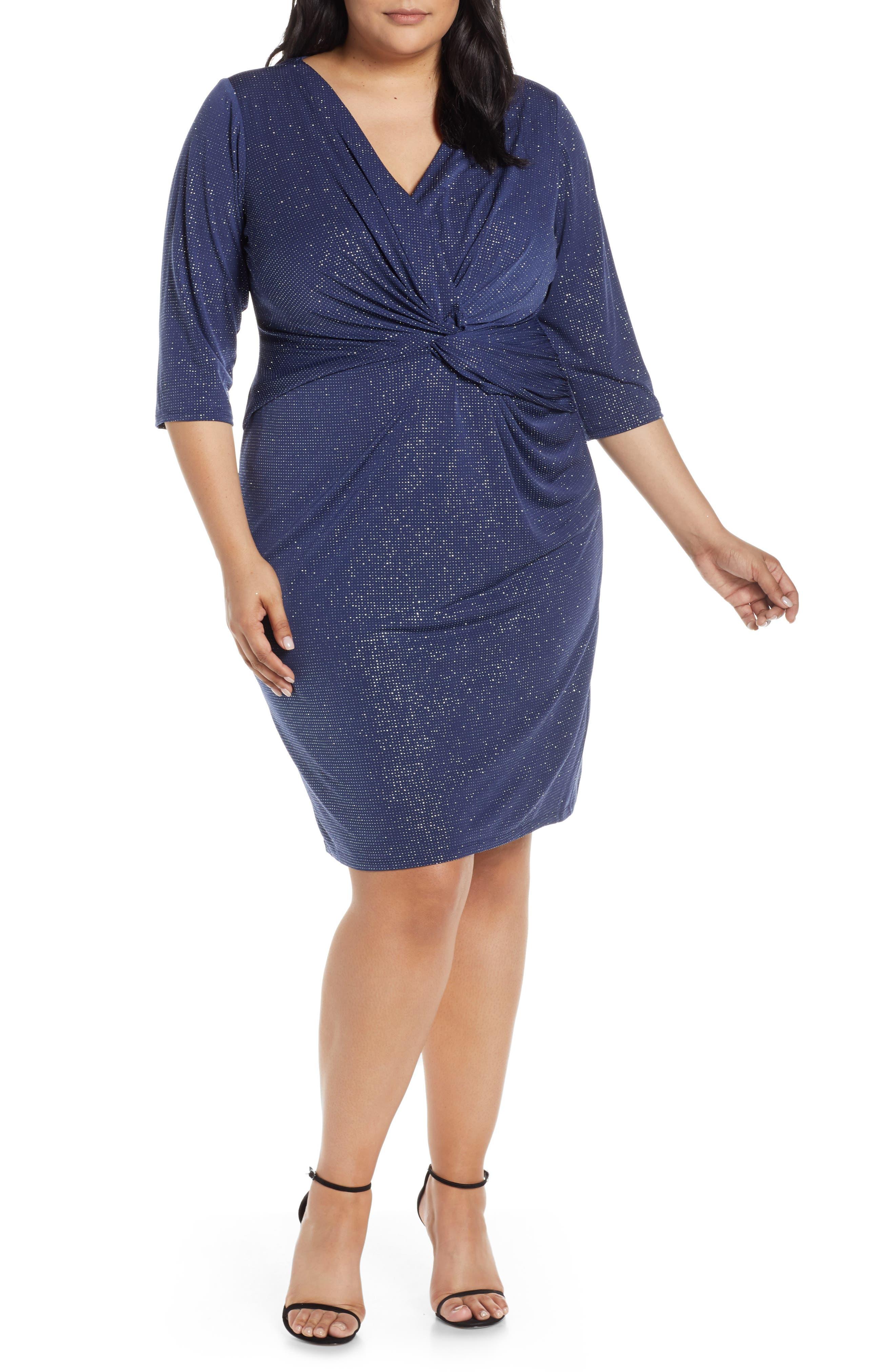 Plus Size Vince Camuto Twist Bodice Body-Con Dress, Blue