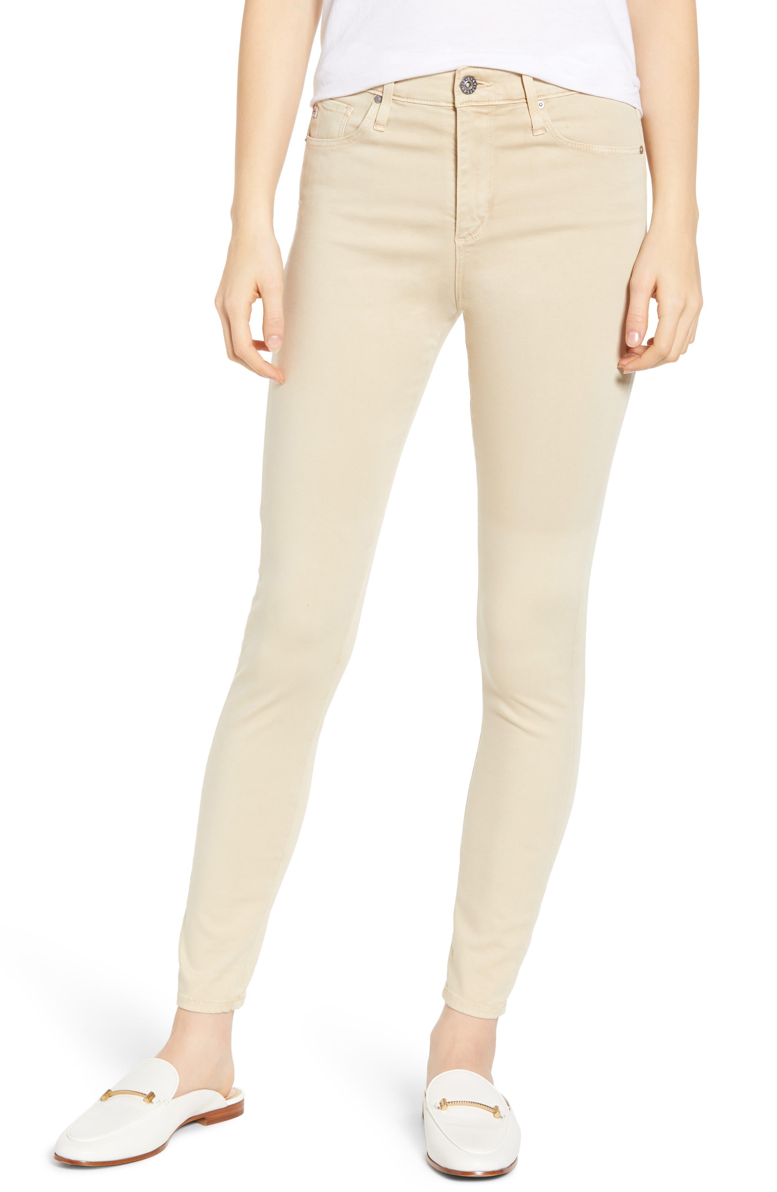 AG Farrah High Waist Ankle Skinny Jeans, Main, color, SULFUR FRESH SAND