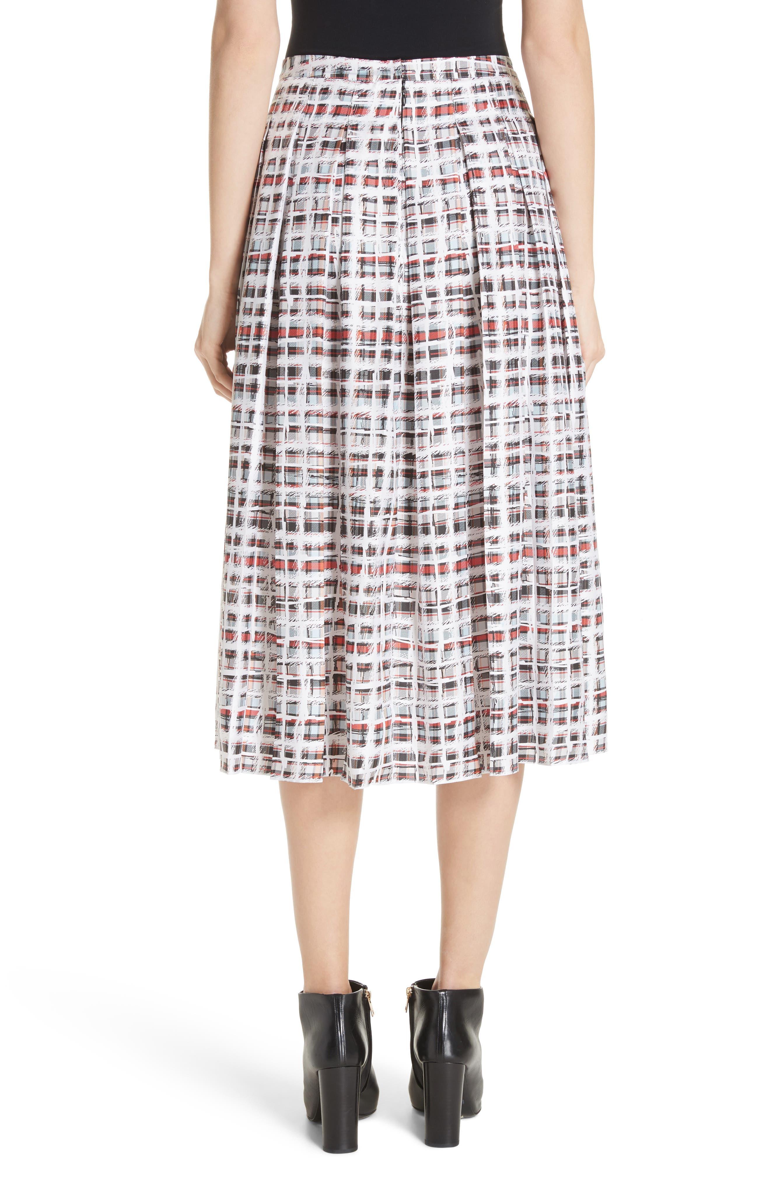 BURBERRY, Farnborough Pleated Check Silk Midi Skirt, Alternate thumbnail 2, color, CADMIUM RED