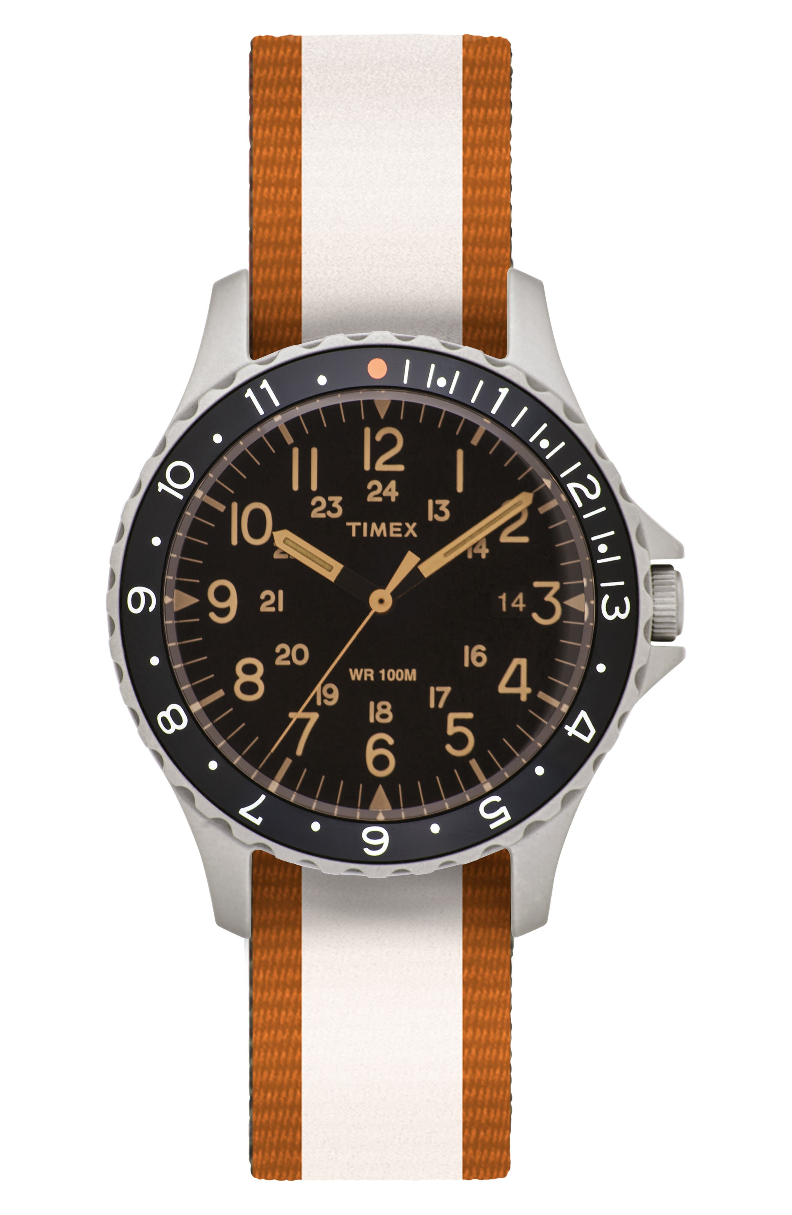 TIMEX<SUP>®</SUP> ARCHIVE, Navi Ocean Reversible NATO Strap Watch, 38mm, Alternate thumbnail 2, color, BLACK/ ORANGE/ WHITE