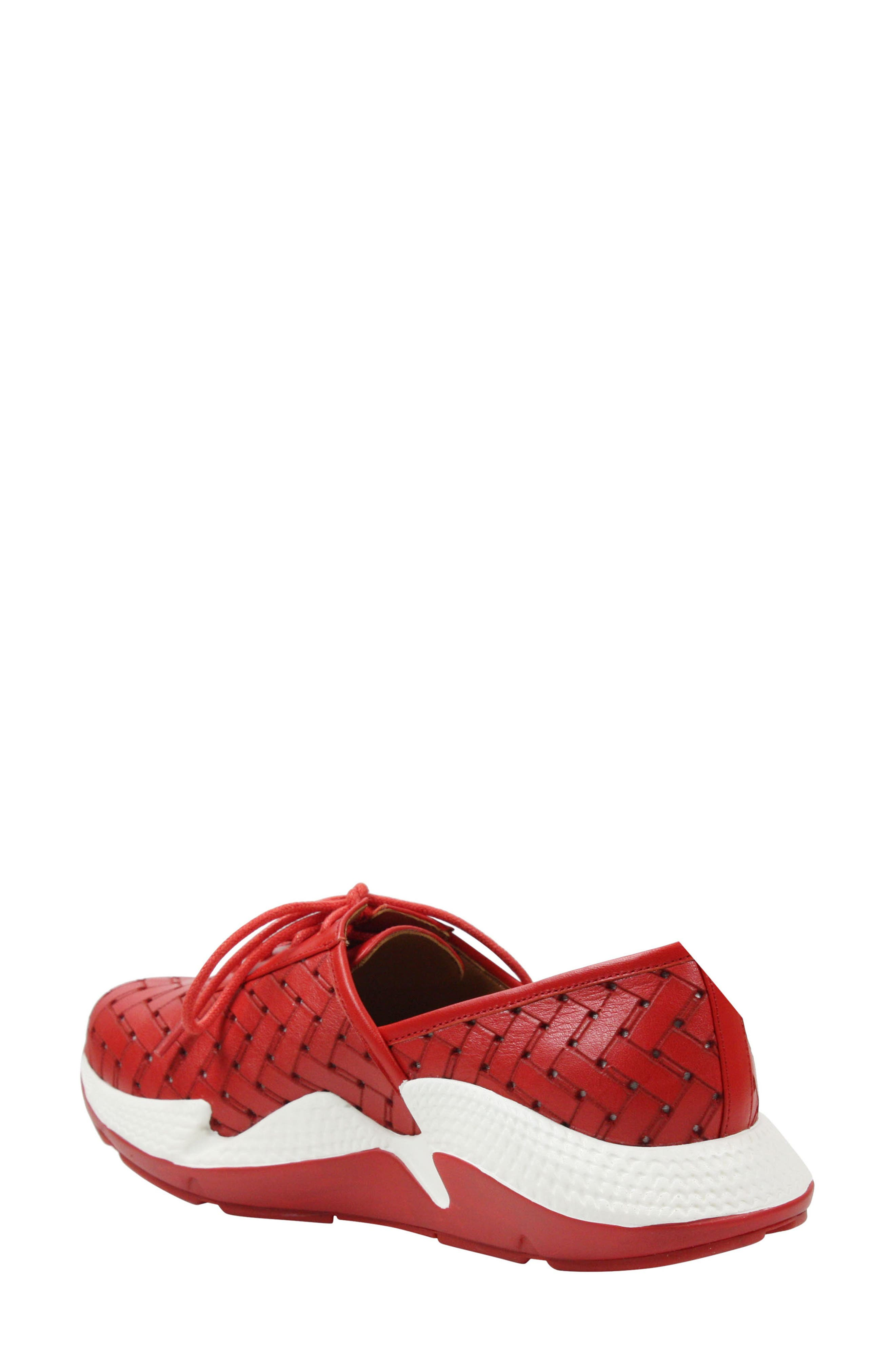 L'AMOUR DES PIEDS, Helodie Sneaker, Alternate thumbnail 2, color, RED LEATHER