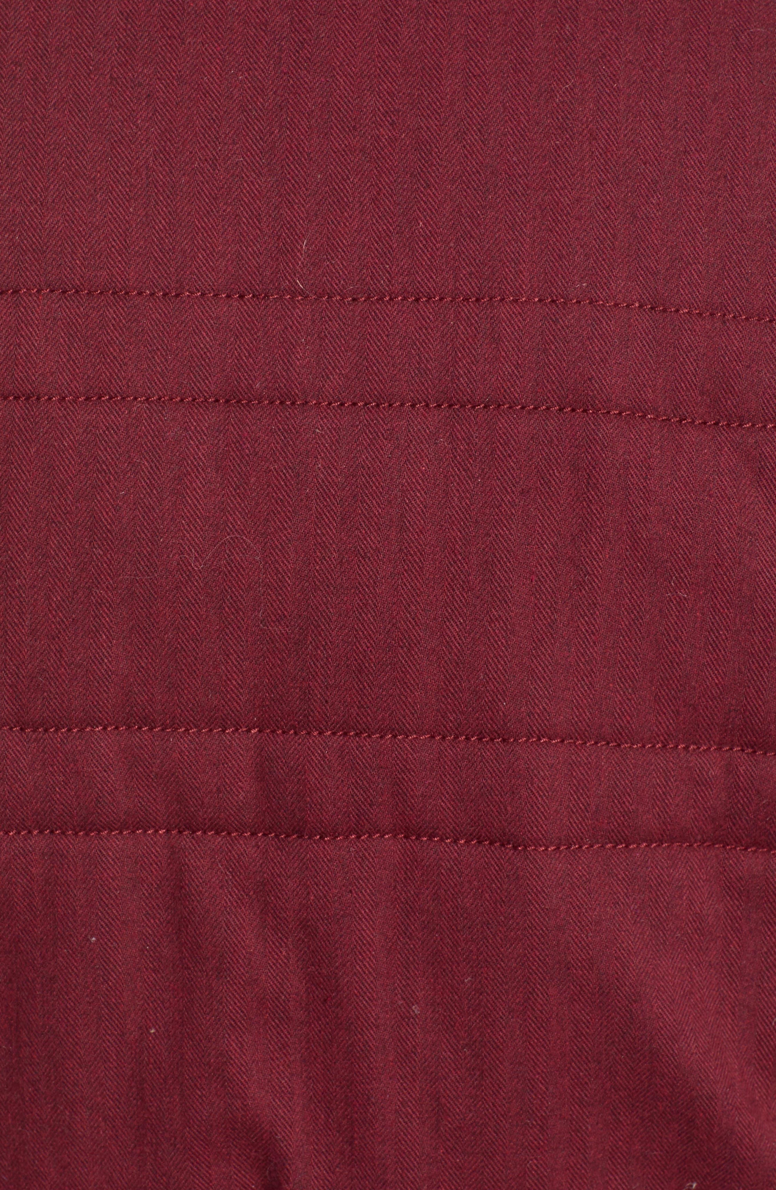 TREASURE & BOND, Flannel Crop Puffer Jacket, Alternate thumbnail 6, color, RED TANNIN HEATHER
