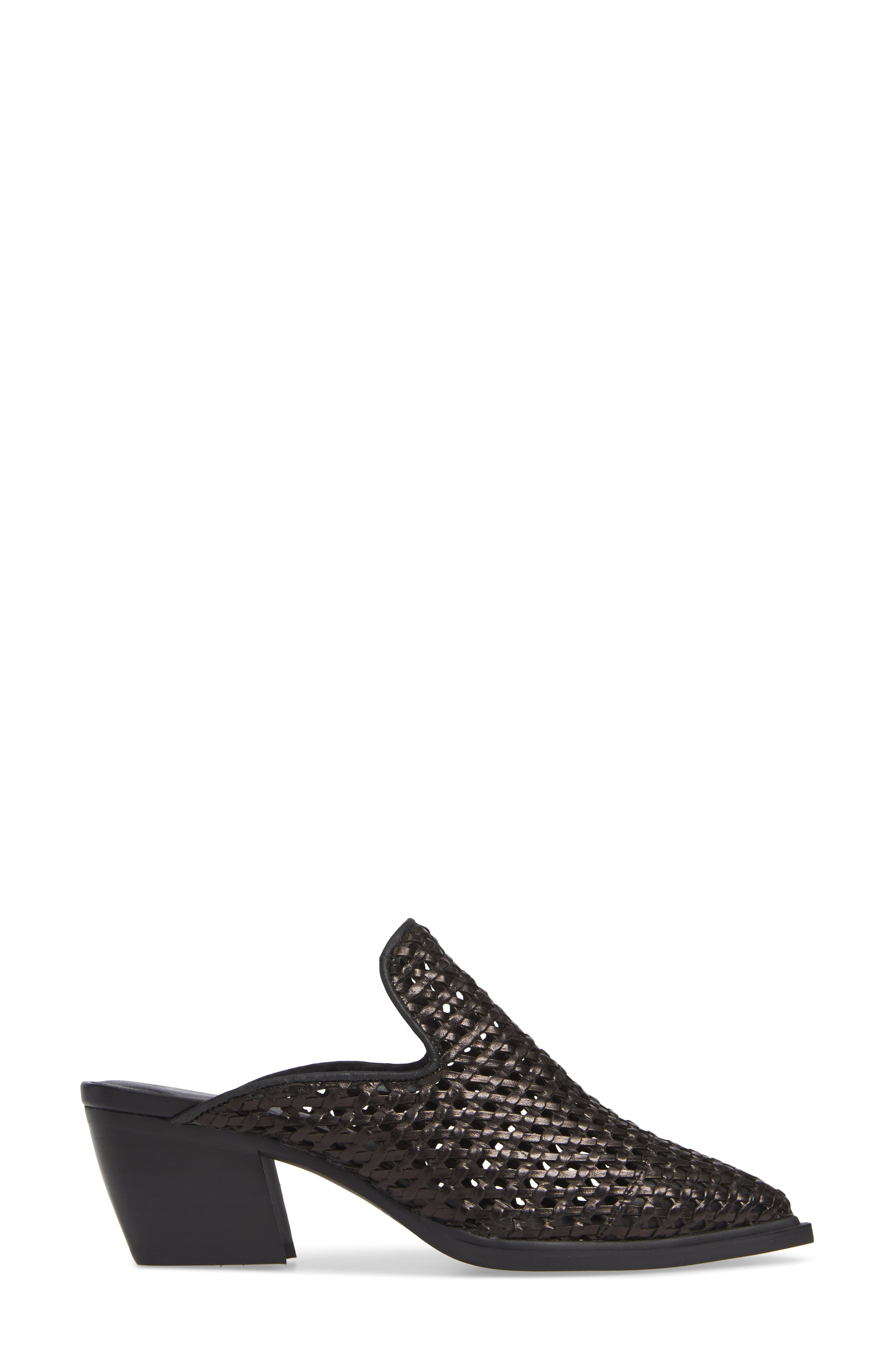 SBICCA, Louise Woven Mule, Alternate thumbnail 3, color, BLACK LEATHER