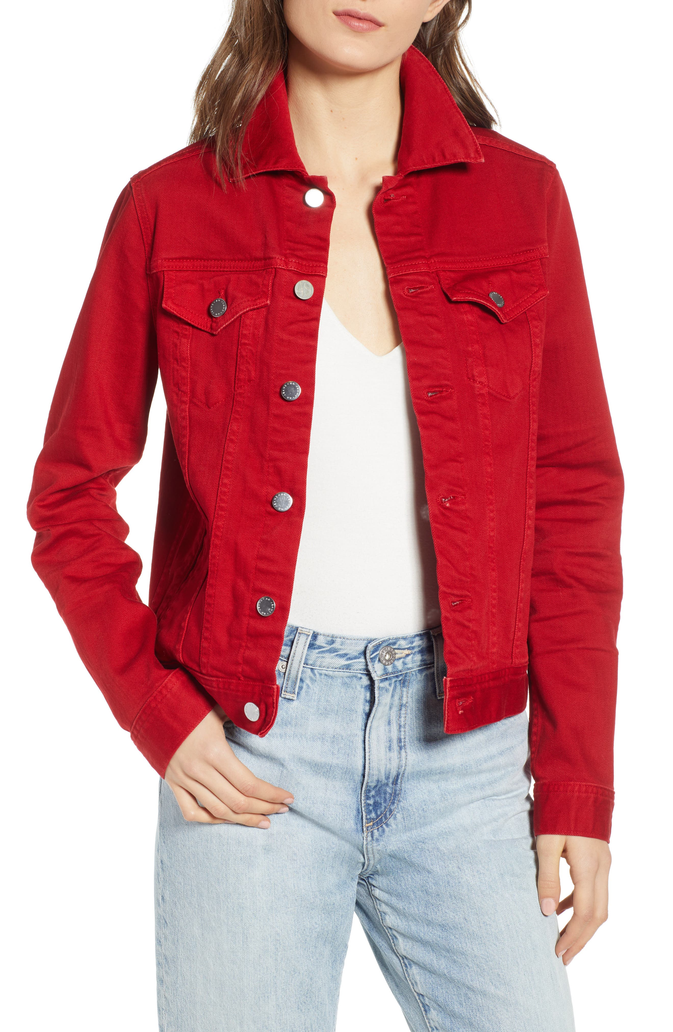 AG, Mya Denim Jacket, Main thumbnail 1, color, 01Y HI WHITE CLEVER RED