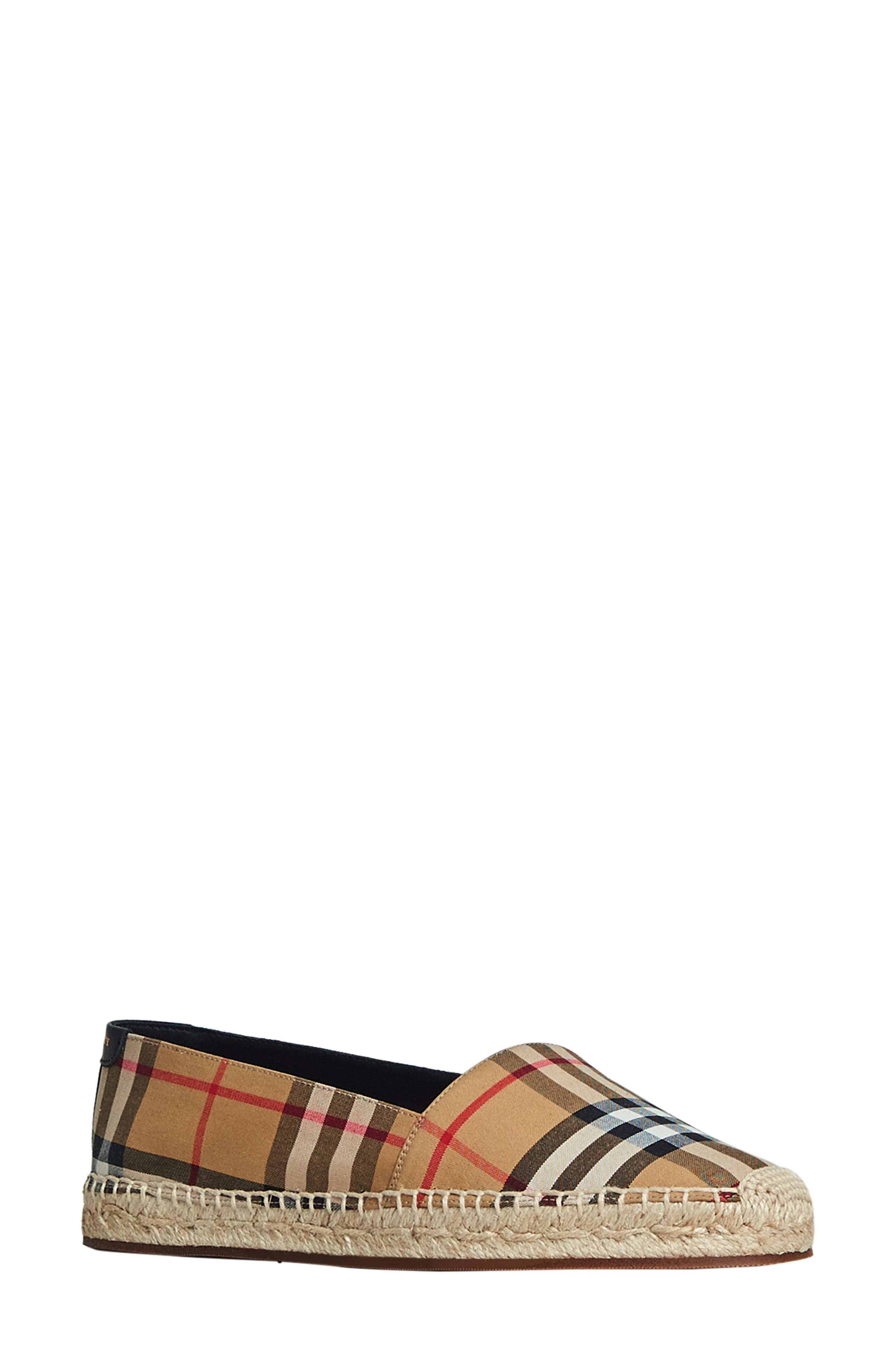 BURBERRY Hodgeson Check Print Espadrille Flat, Main, color, ANTIQUE YELLOW