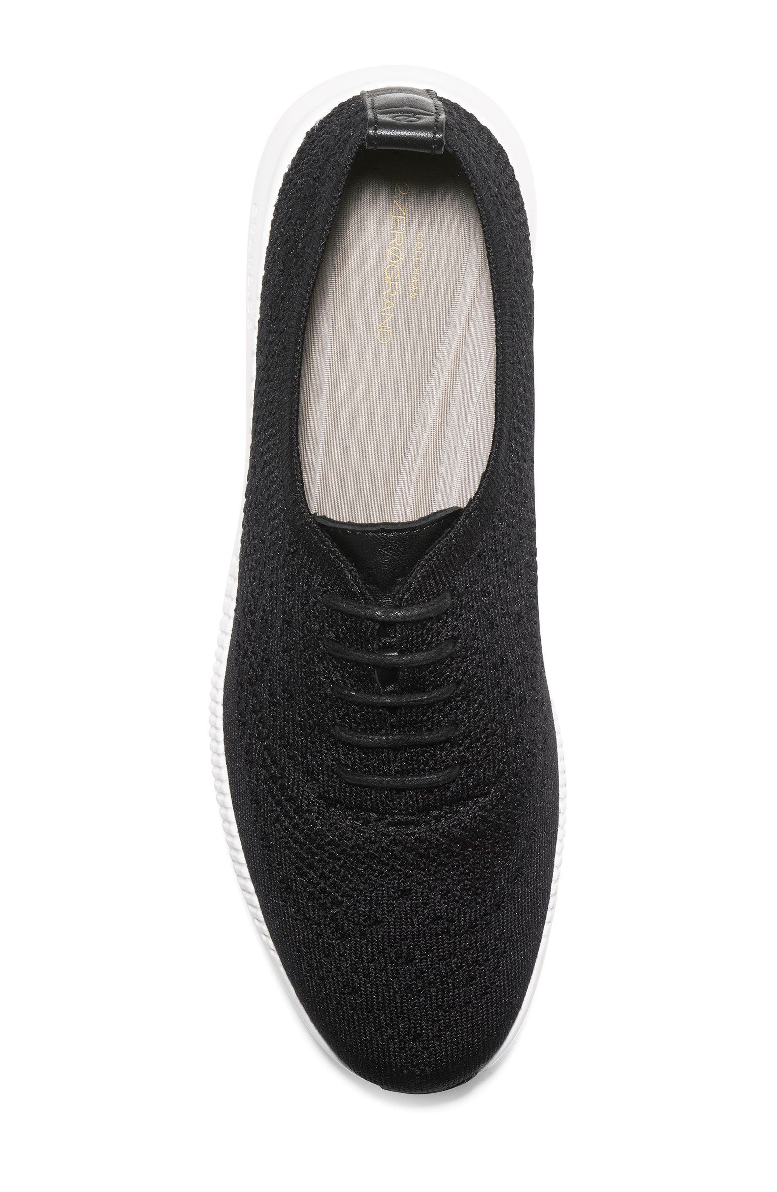 COLE HAAN, 2.ZERØGRAND Stitchlite Wingtip Sneaker, Alternate thumbnail 5, color, BLACK FABRIC