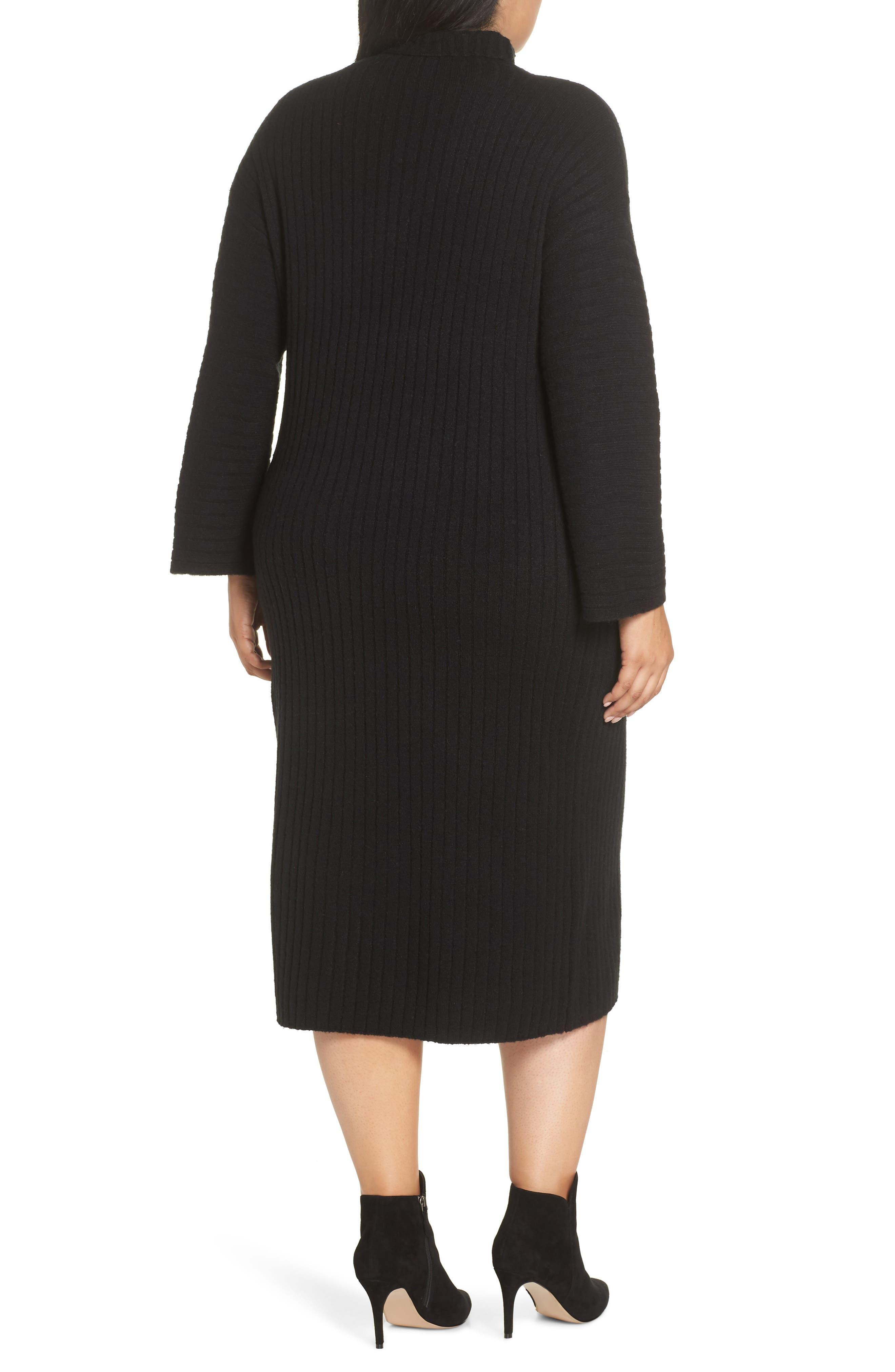 LEITH, Ribbed Midi Sweater Dress, Alternate thumbnail 2, color, BLACK