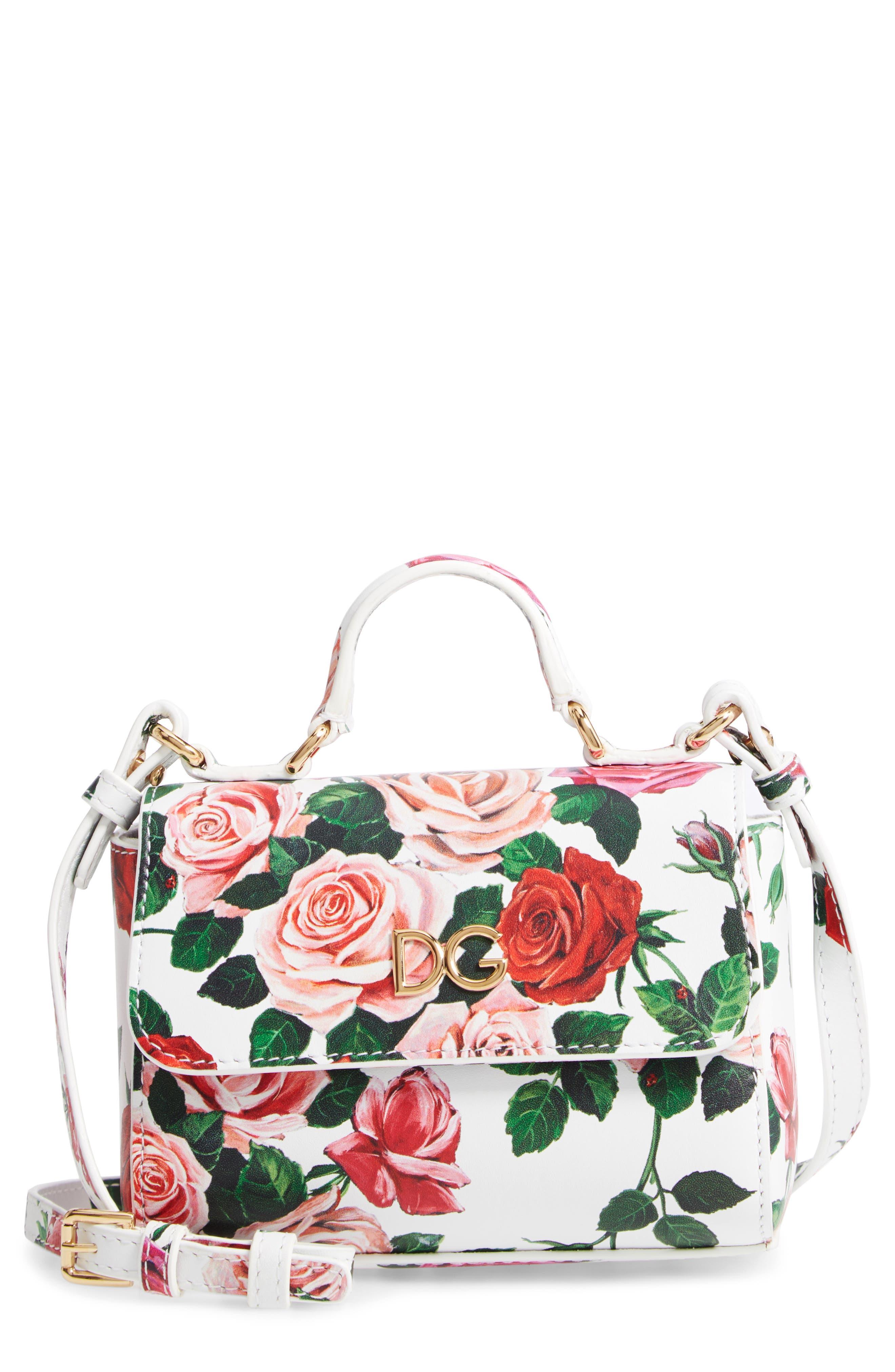 DOLCE&GABBANA, Floral Print Handbag, Main thumbnail 1, color, MIX ROSE FDO BCO NAT