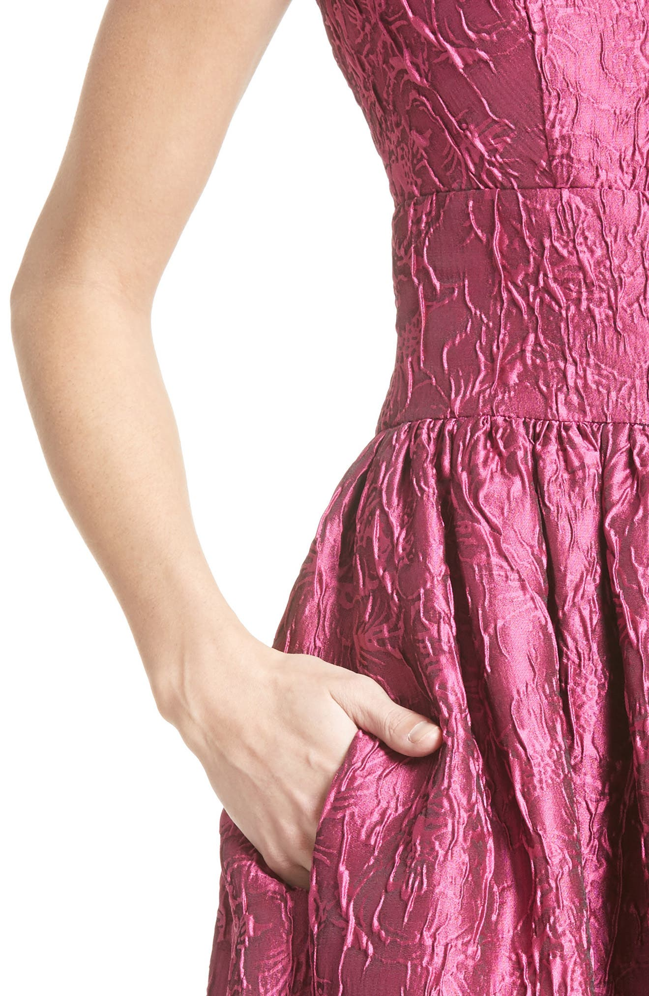 BADGLEY MISCHKA COUTURE., Badgley Mischka Couture Cap Sleeve Brocade Party Dress, Alternate thumbnail 5, color, 652