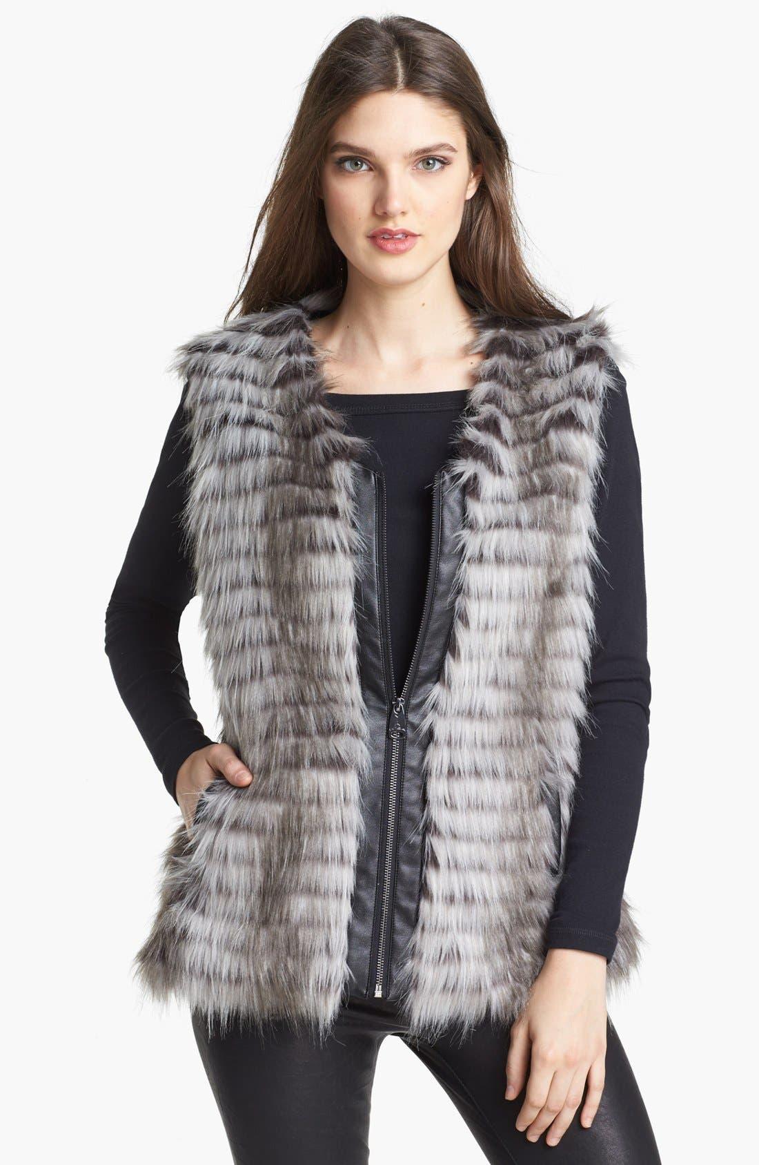 VIA SPIGA, Faux Fur Vest, Main thumbnail 1, color, 020