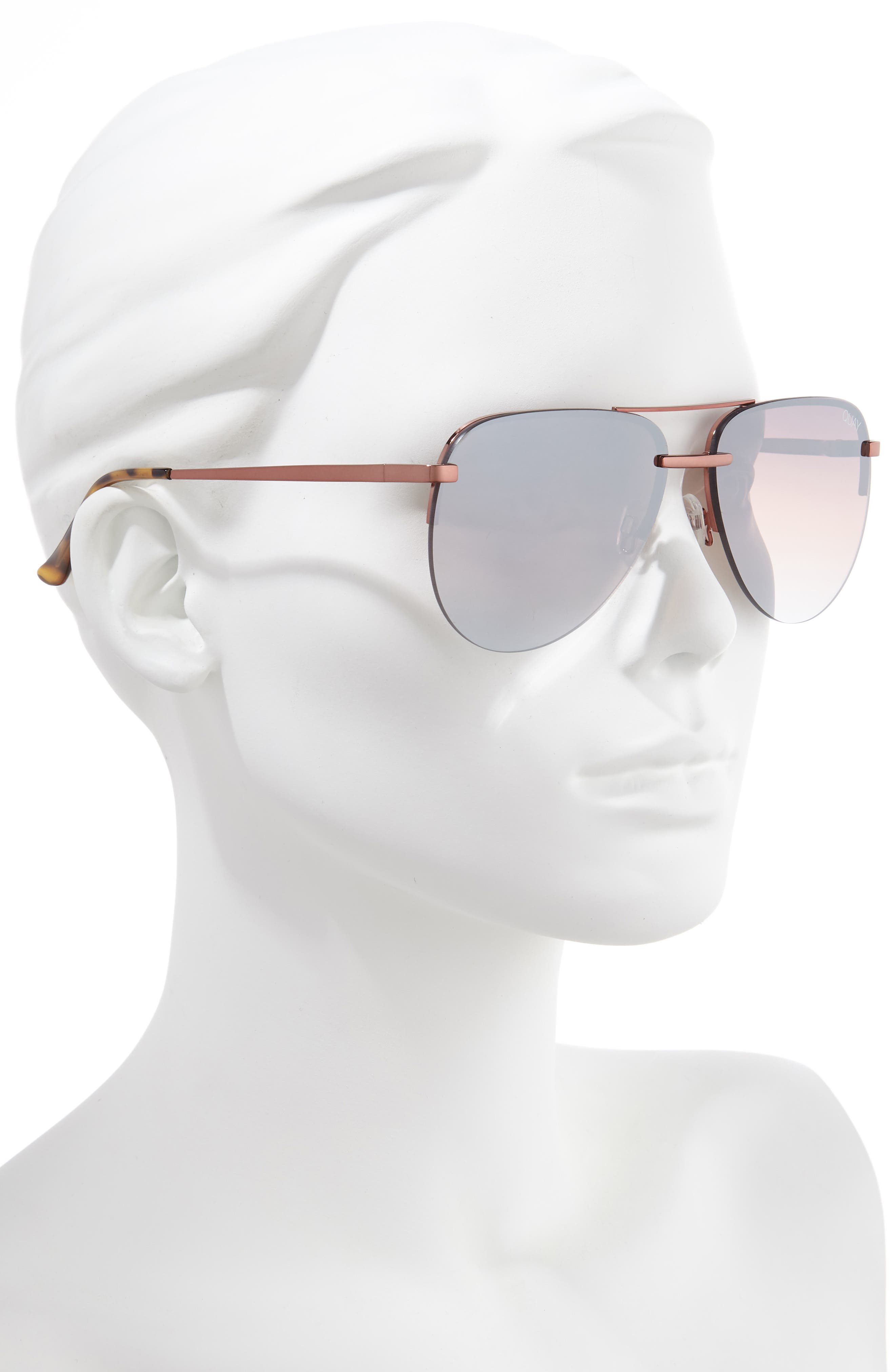 QUAY AUSTRALIA, x JLO The Playa 54mm Aviator Sunglasses, Alternate thumbnail 2, color, BRONZE/ BROWN