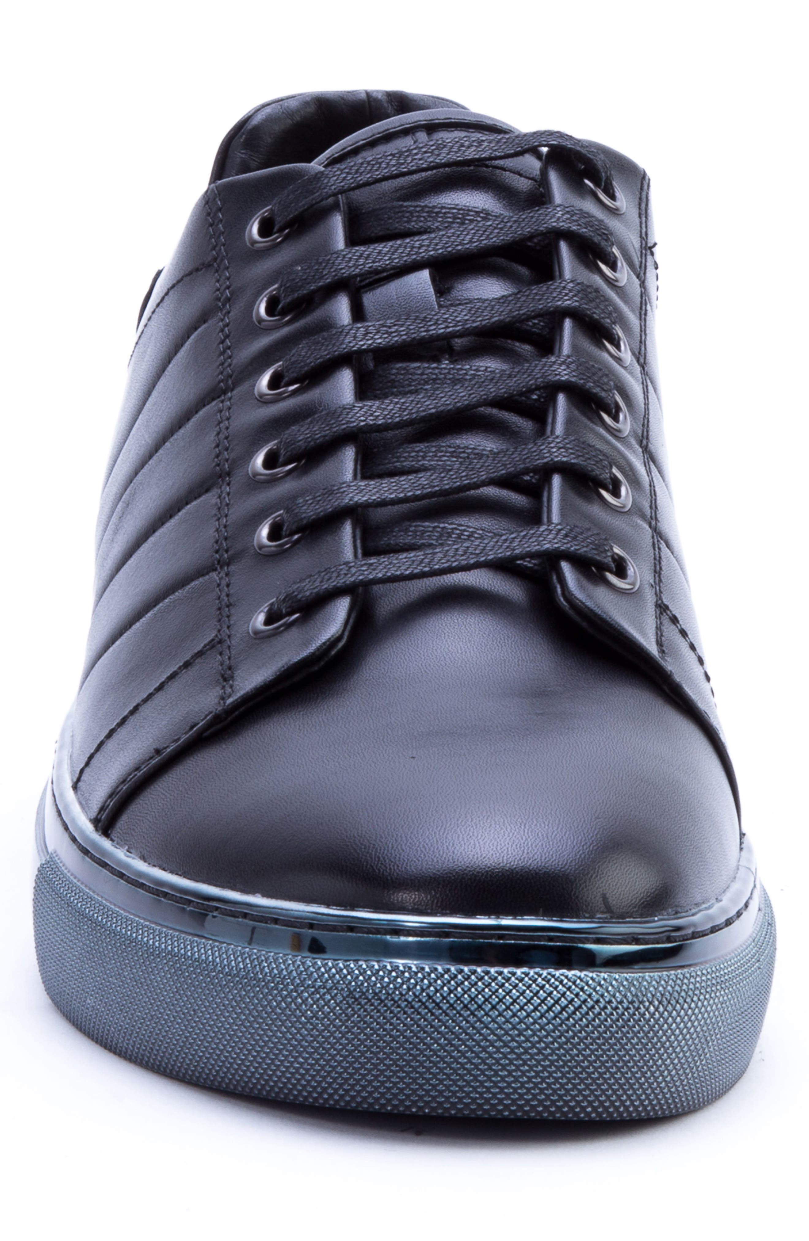 BADGLEY MISCHKA COLLECTION, Badgley Mischka Brando Sneaker, Alternate thumbnail 4, color, BLACK LEATHER