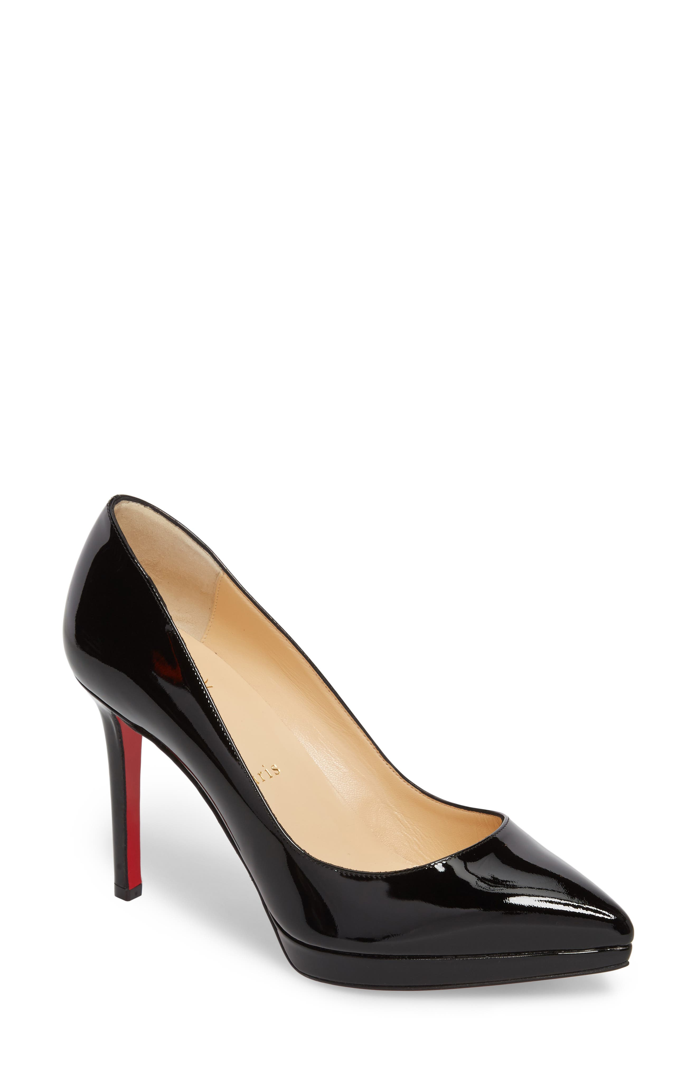 CHRISTIAN LOUBOUTIN, Pigalle Plato Pointy Toe Platform Pump, Main thumbnail 1, color, BLACK PATENT