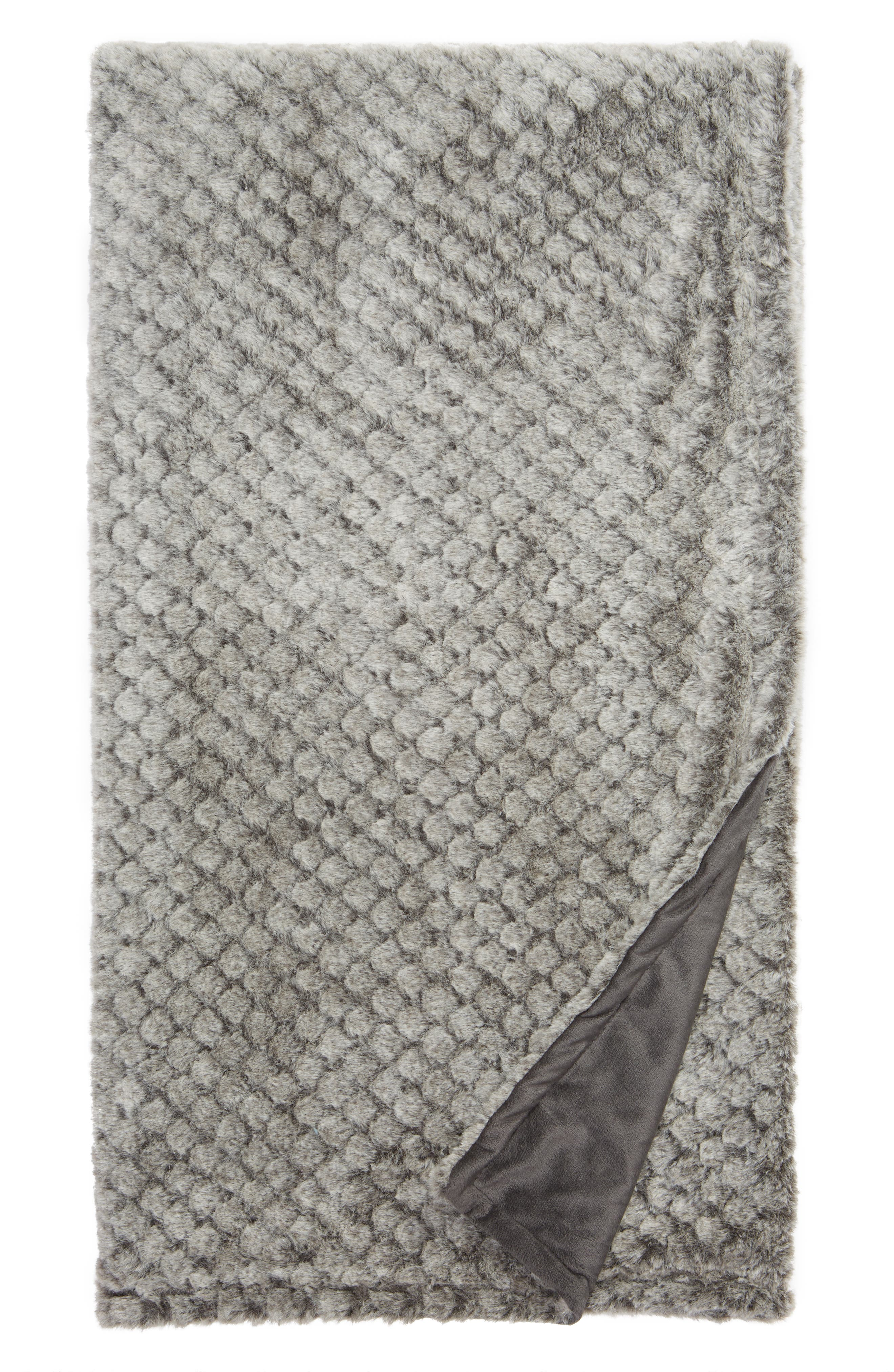 NORDSTROM AT HOME Diamond Plush Throw, Main, color, GREY MAGNET