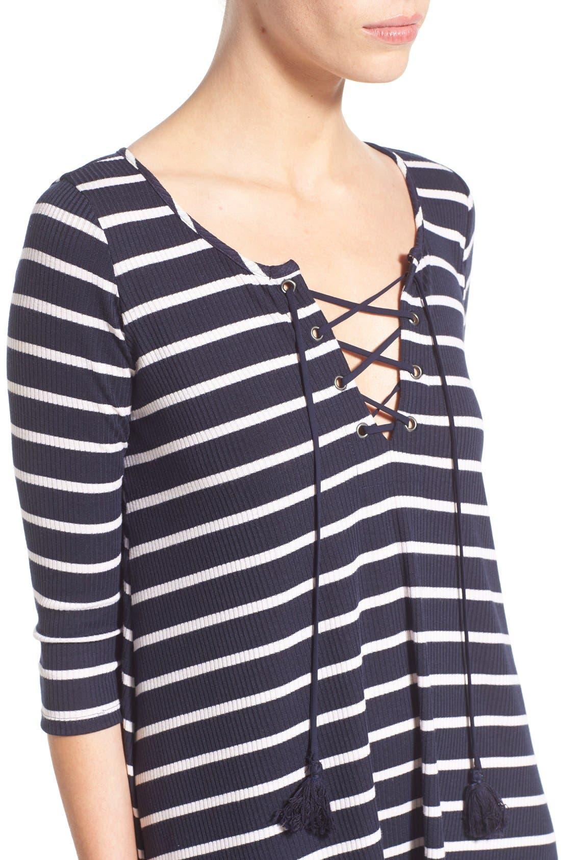 SOCIALITE, Stripe Lace-Up Minidress, Alternate thumbnail 3, color, 466