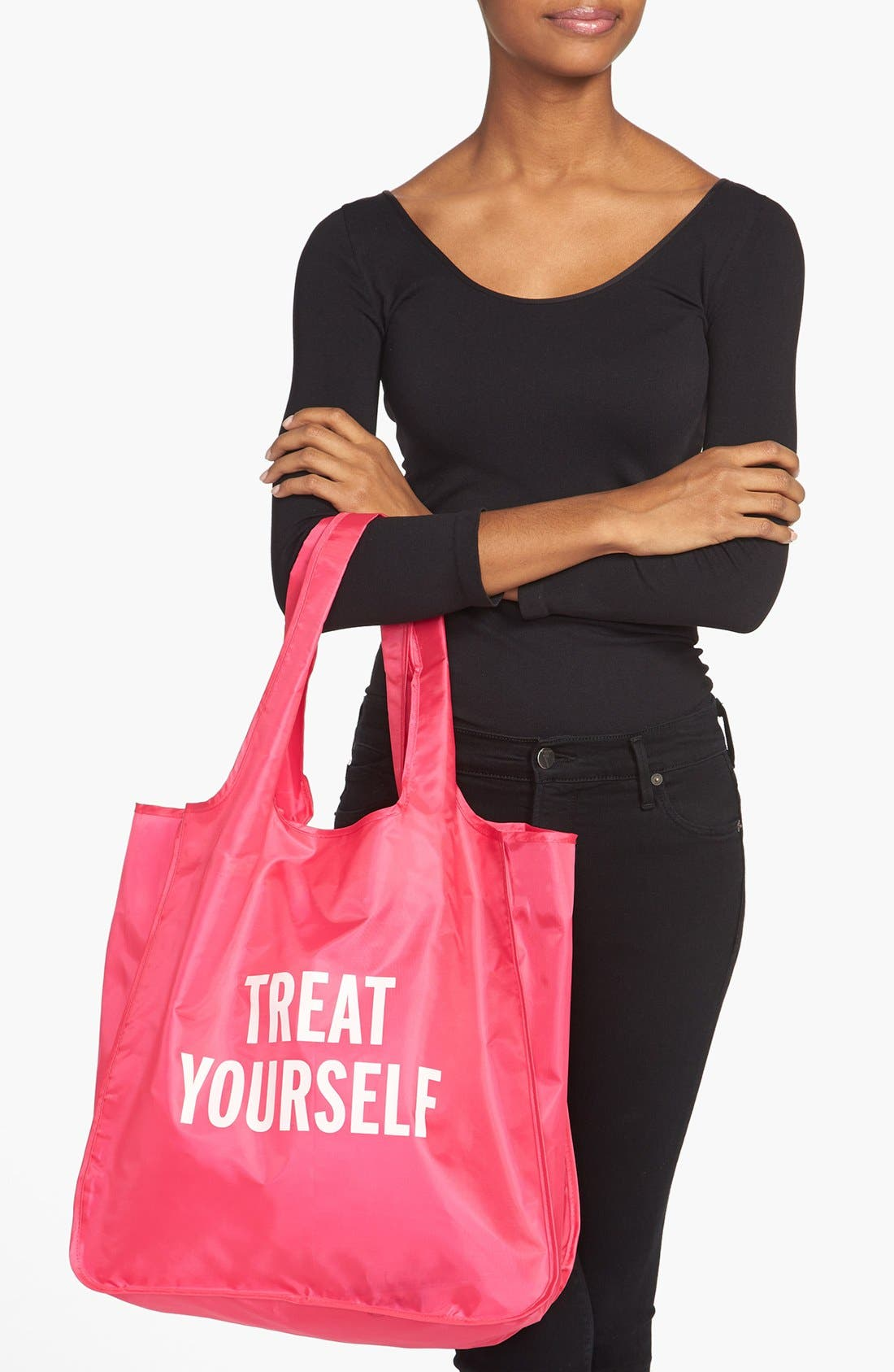 KATE SPADE NEW YORK, 'treat yourself' reusable shopping tote, Alternate thumbnail 2, color, 650