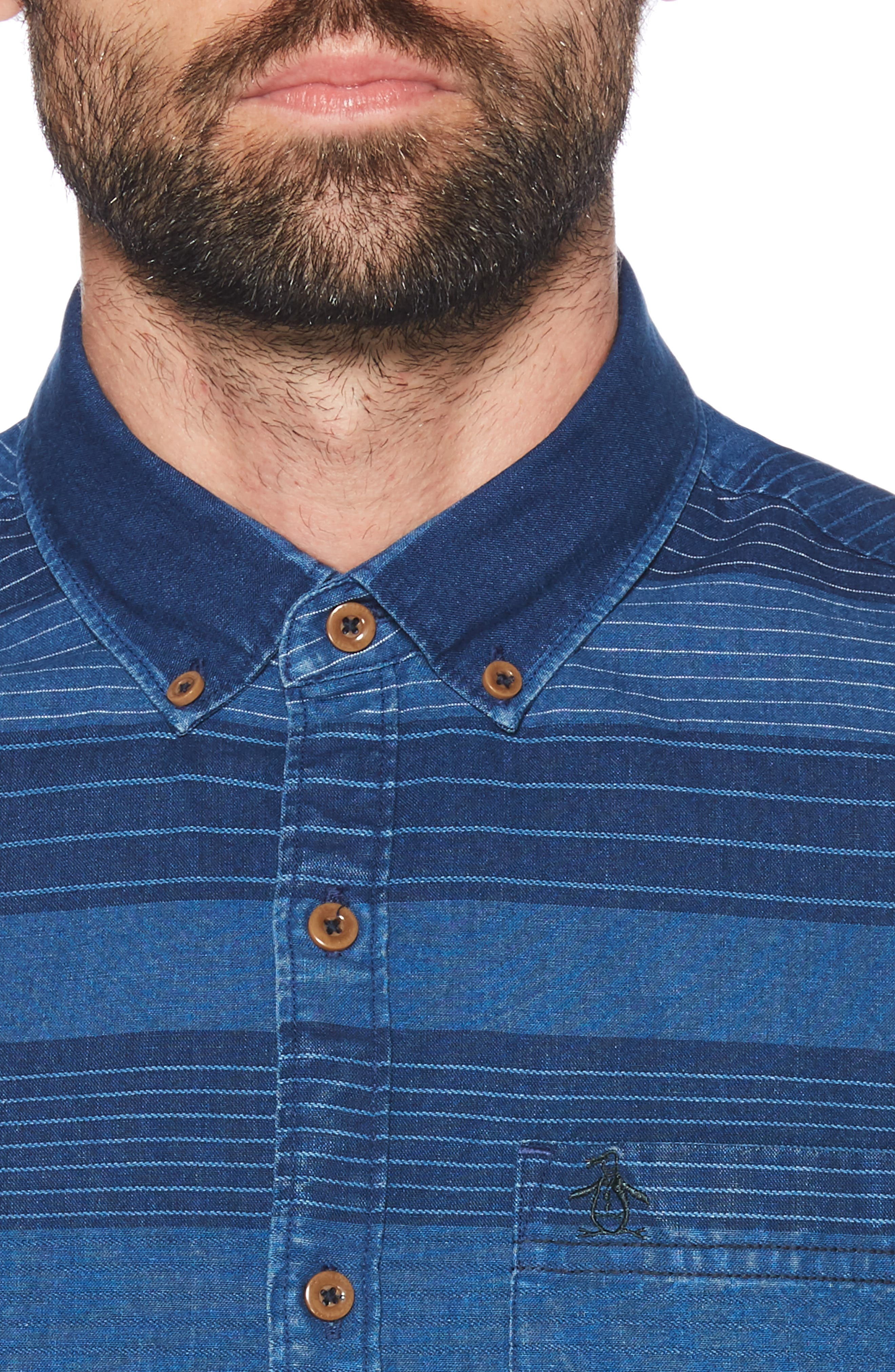 ORIGINAL PENGUIN, Slim Fit Dobby Striped Sport Shirt, Alternate thumbnail 2, color, DARK DENIM