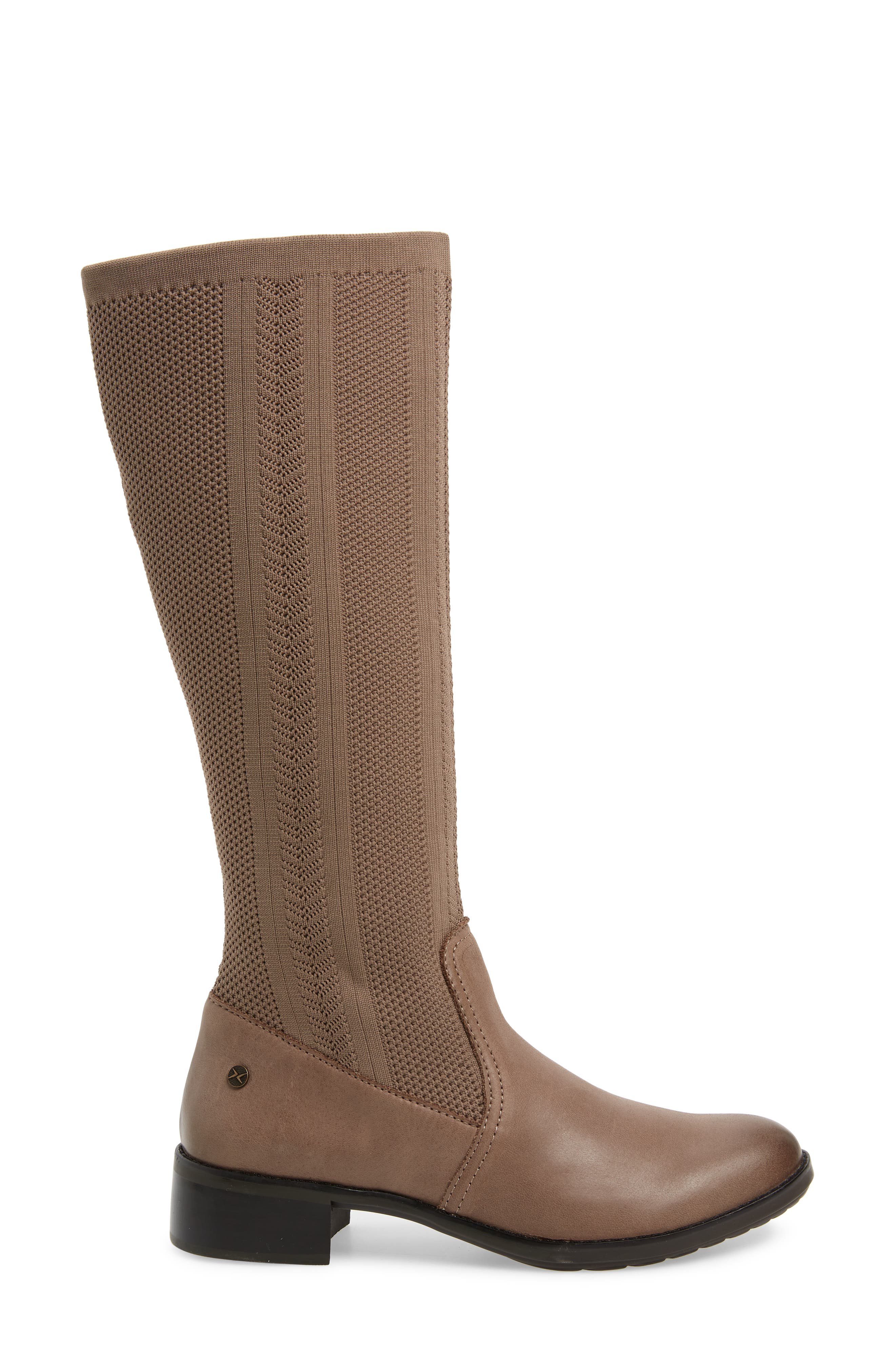 AETREX, Belle Sock Knit Shaft Boot, Alternate thumbnail 3, color, TAN LEATHER