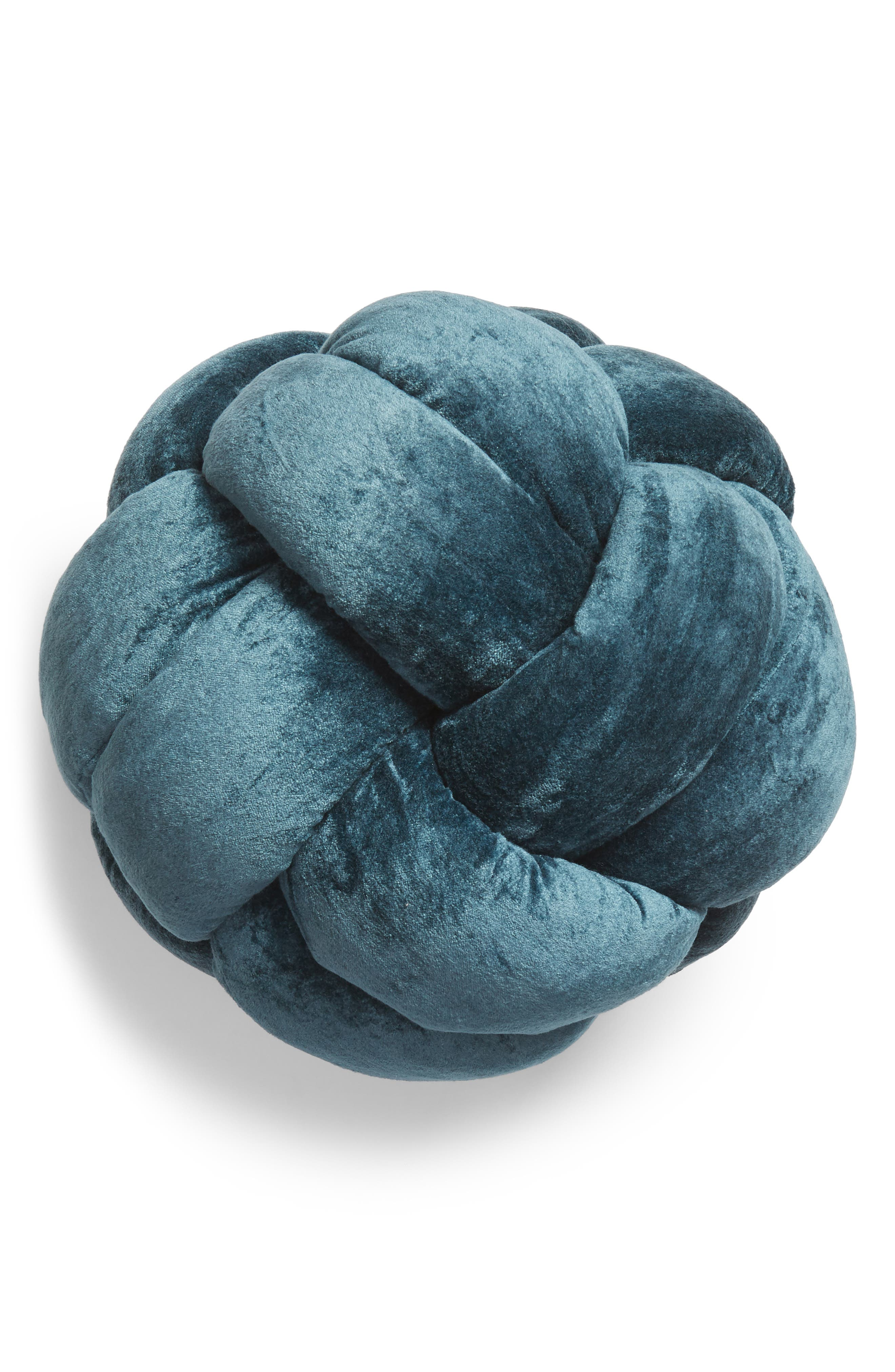 NORDSTROM AT HOME, Velvet Knot Accent Pillow, Main thumbnail 1, color, 440