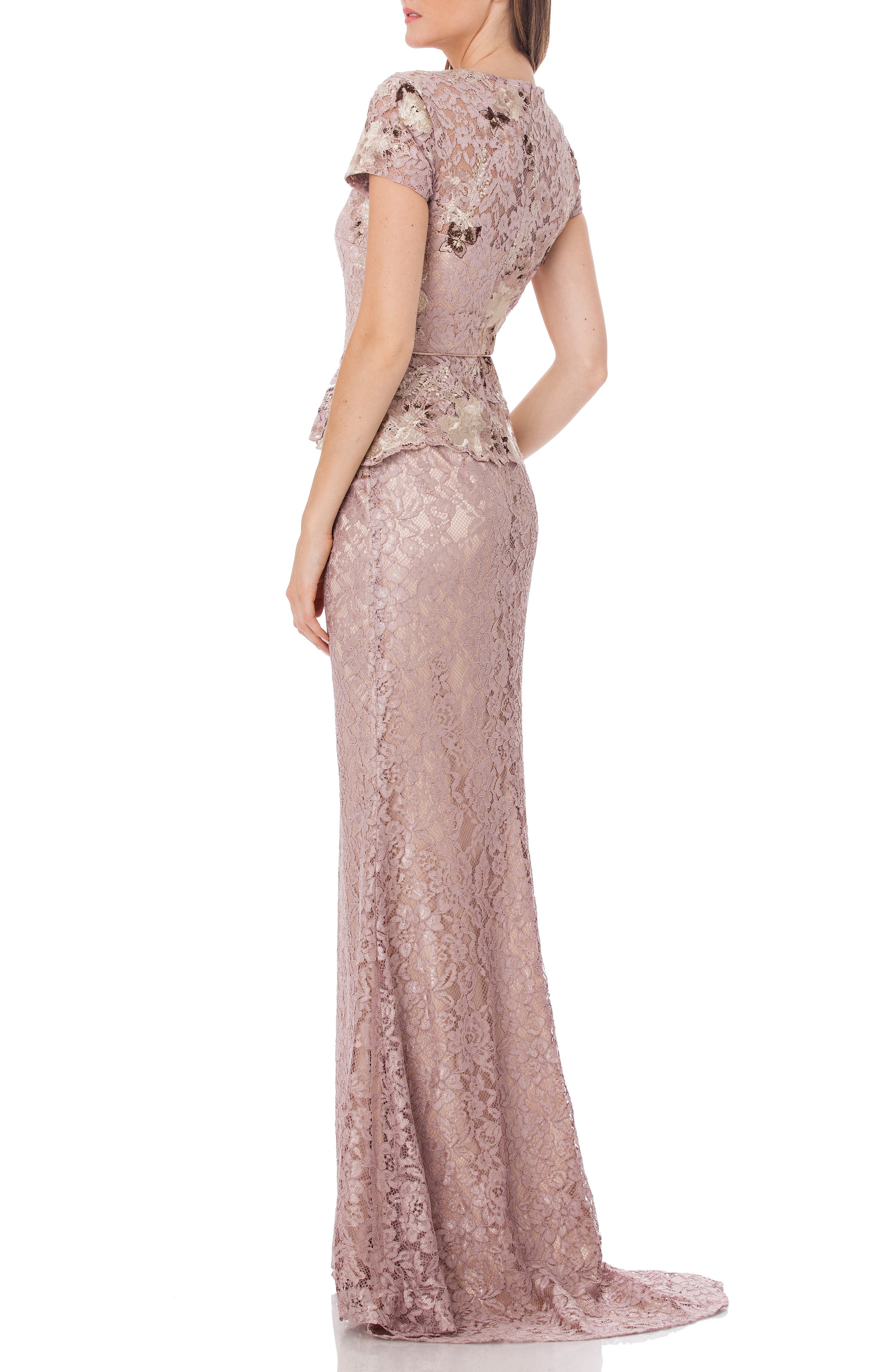 JS COLLECTIONS, Lace Gown, Alternate thumbnail 2, color, LAVENDER/ BLUSH