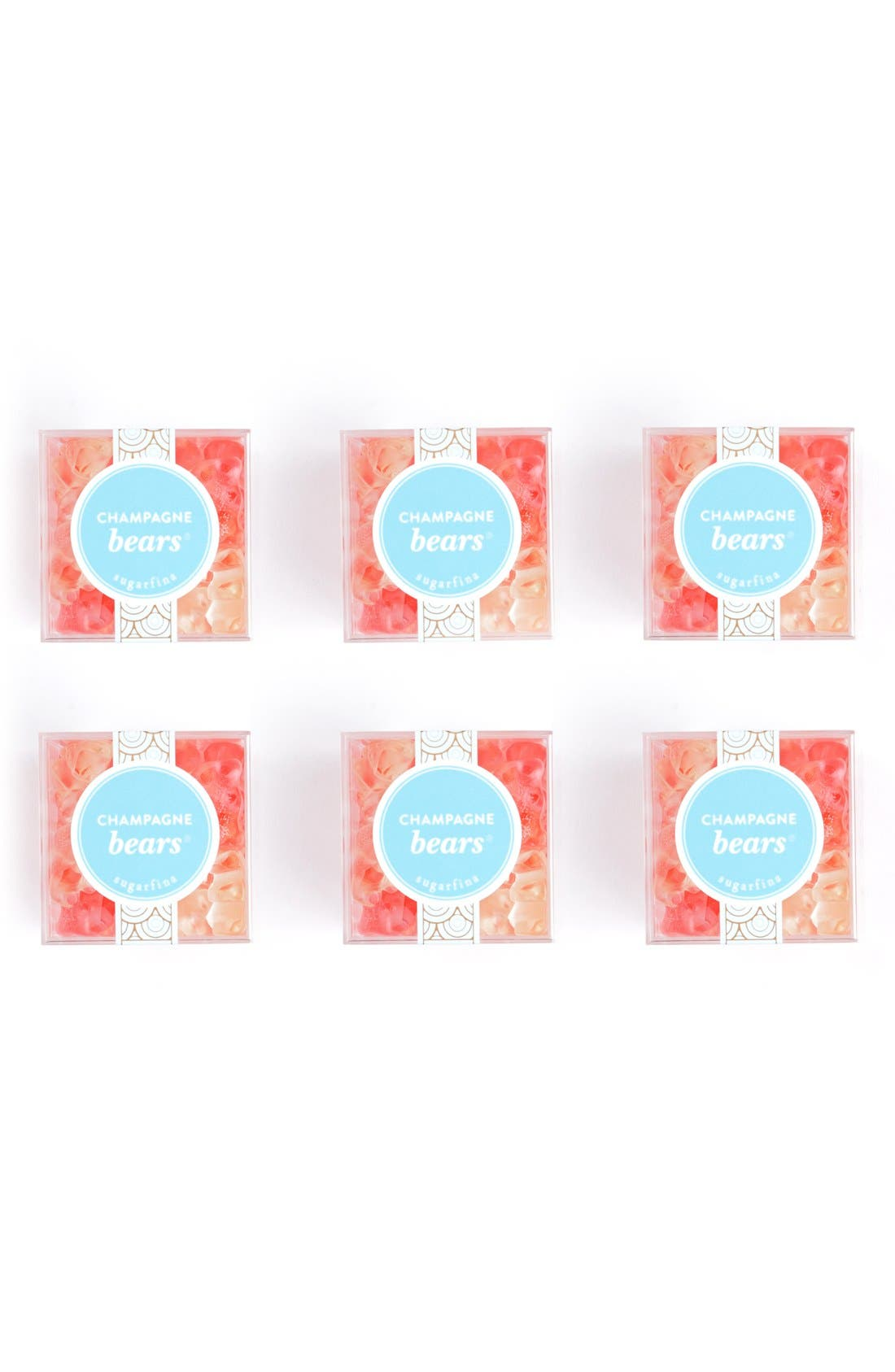 SUGARFINA, Set of 6 Champagne Bears<sup>®</sup> Candy Cubes, Alternate thumbnail 6, color, PINK