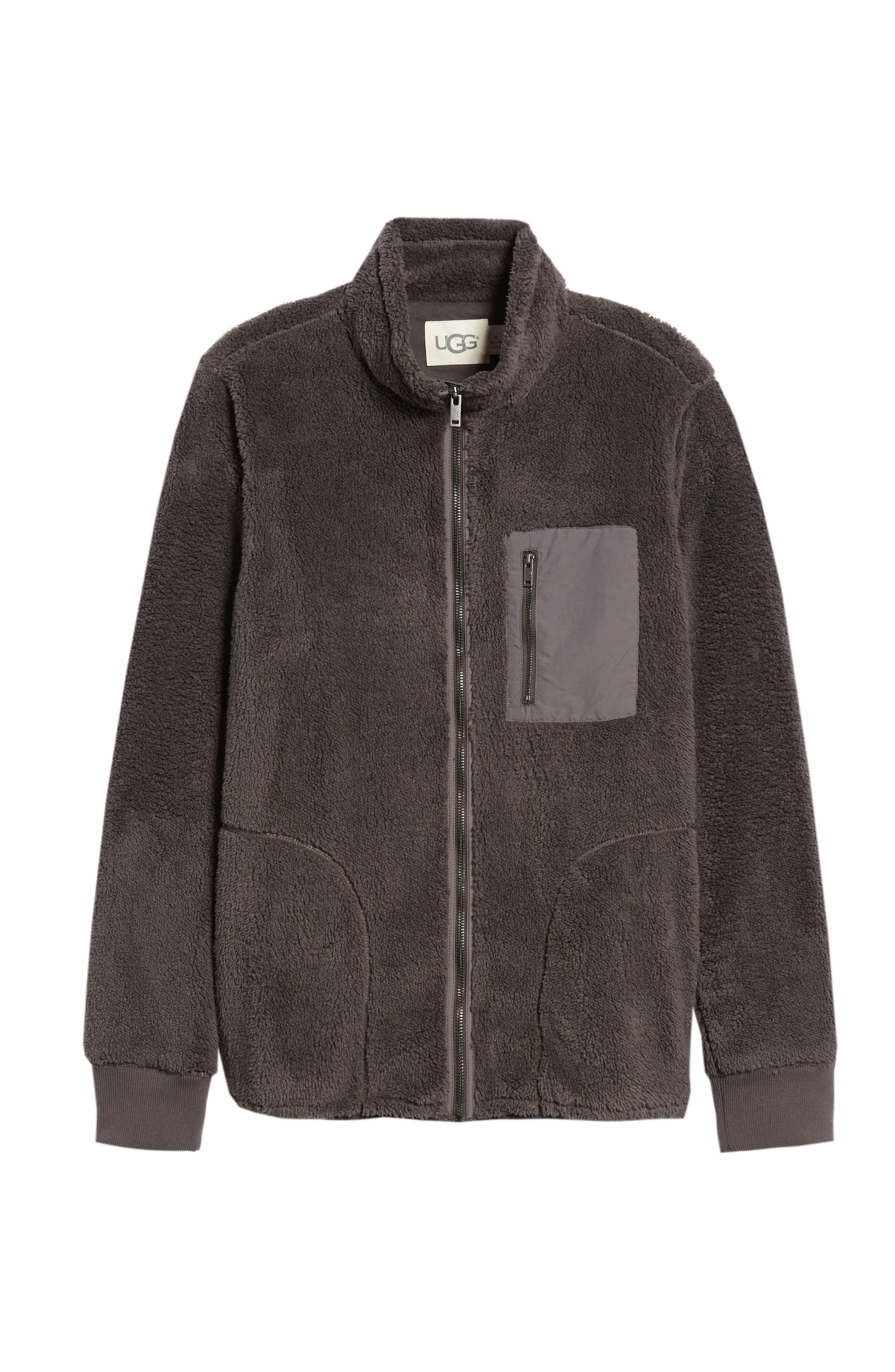 UGG<SUP>®</SUP>, Lucas High Pile Fleece Sweater Jacket, Alternate thumbnail 7, color, CHARCOAL
