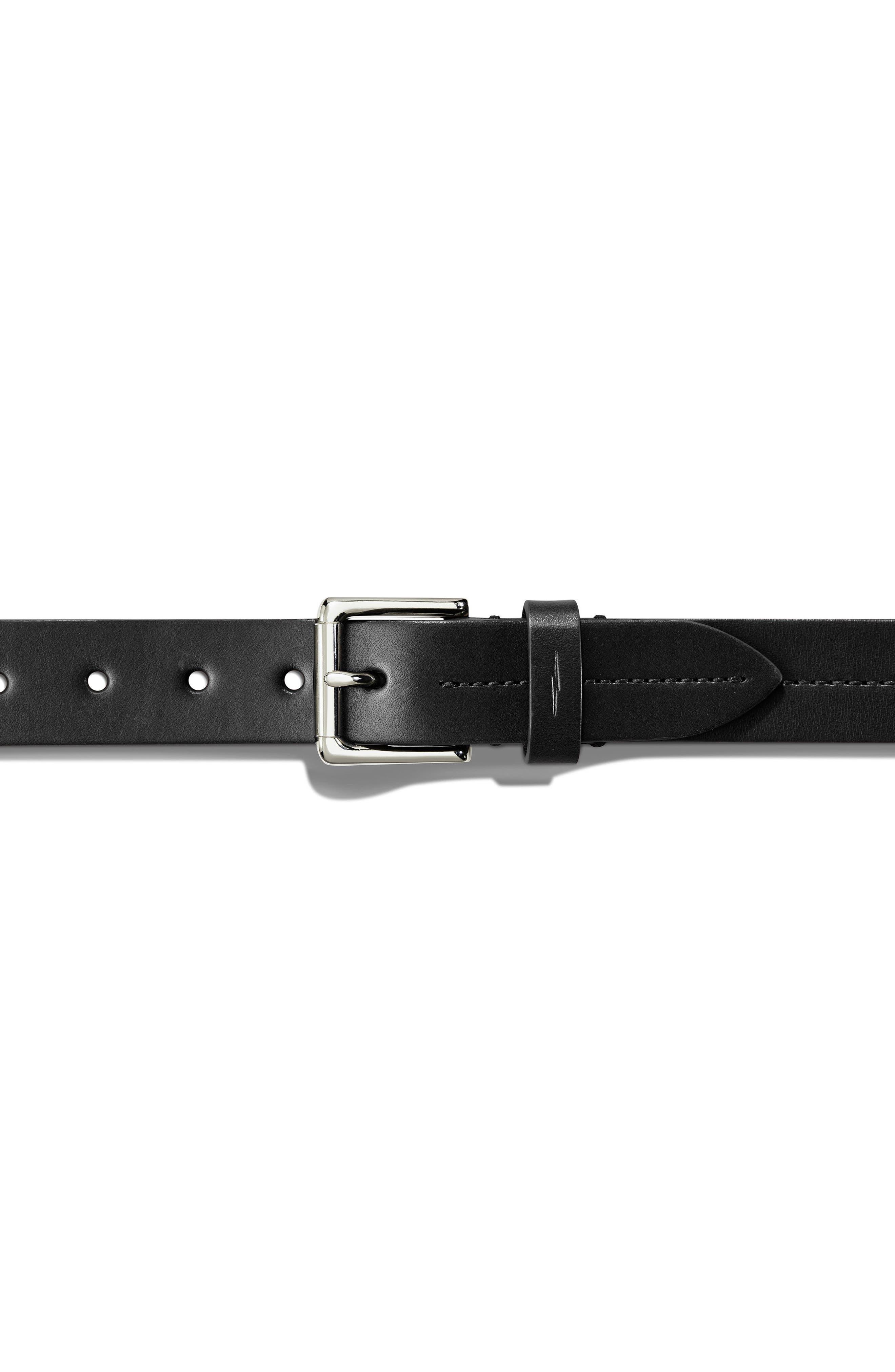 SHINOLA, Leather Belt, Alternate thumbnail 3, color, BLACK