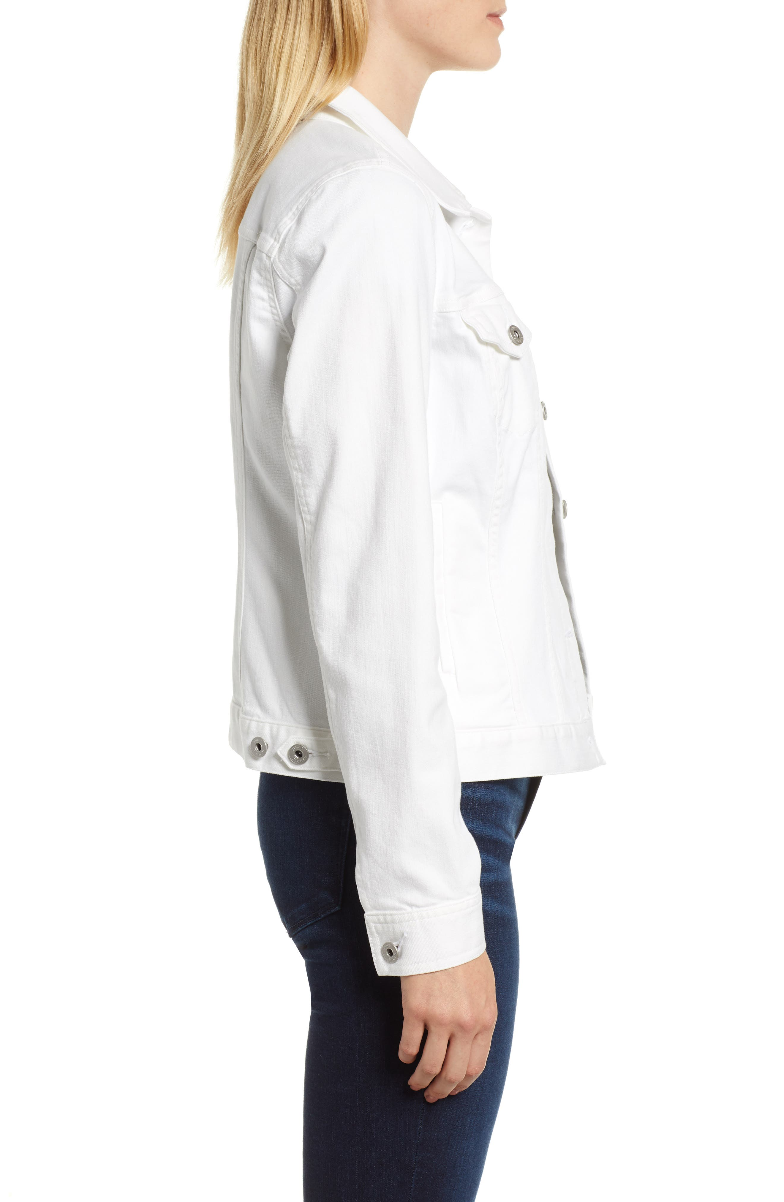 VINCE CAMUTO, Two by Vince Camuto Denim Jacket, Alternate thumbnail 4, color, ULTRA WHITE