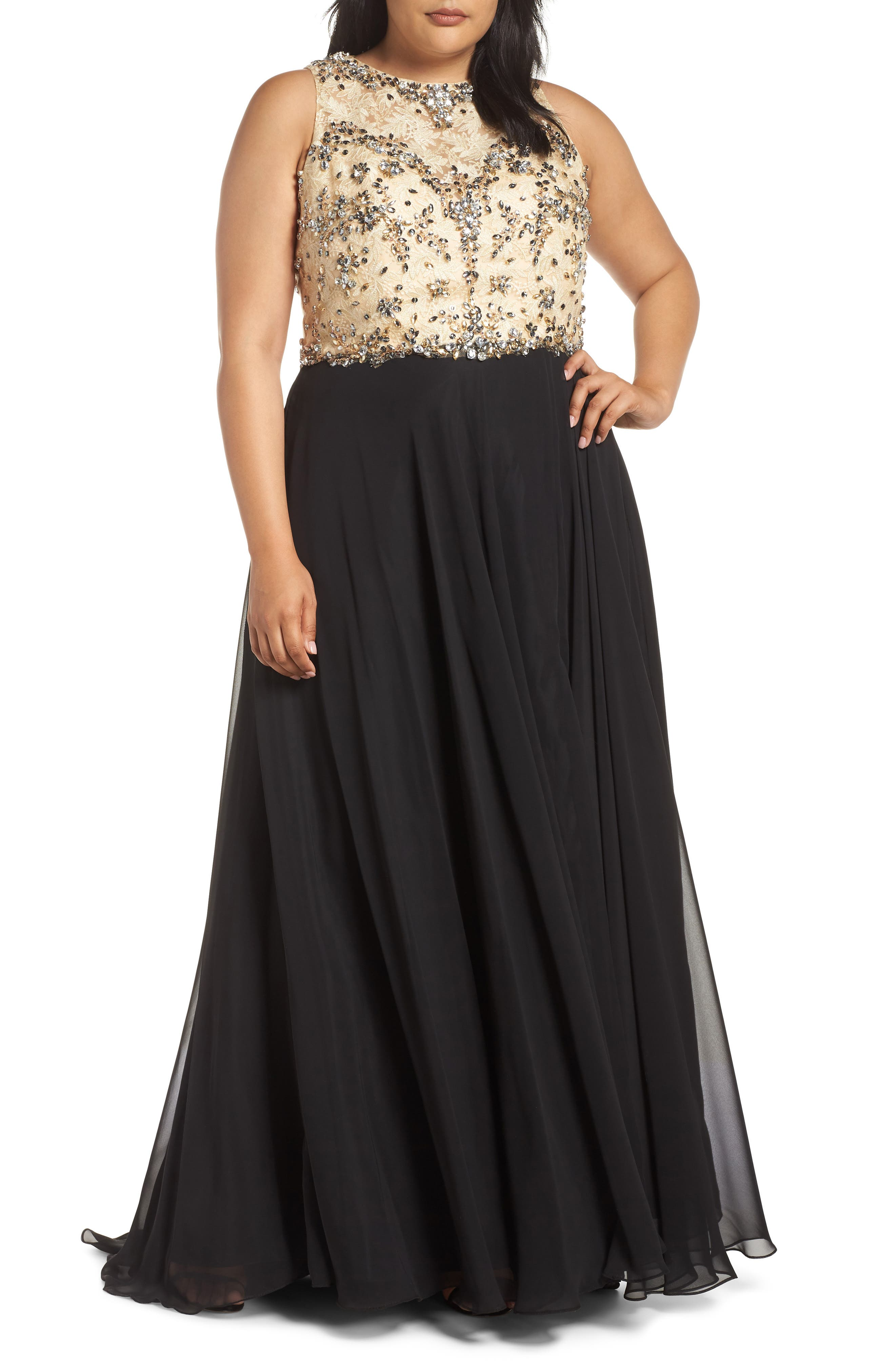 Plus Size MAC Duggal Beaded Illusion Neck Ballgown