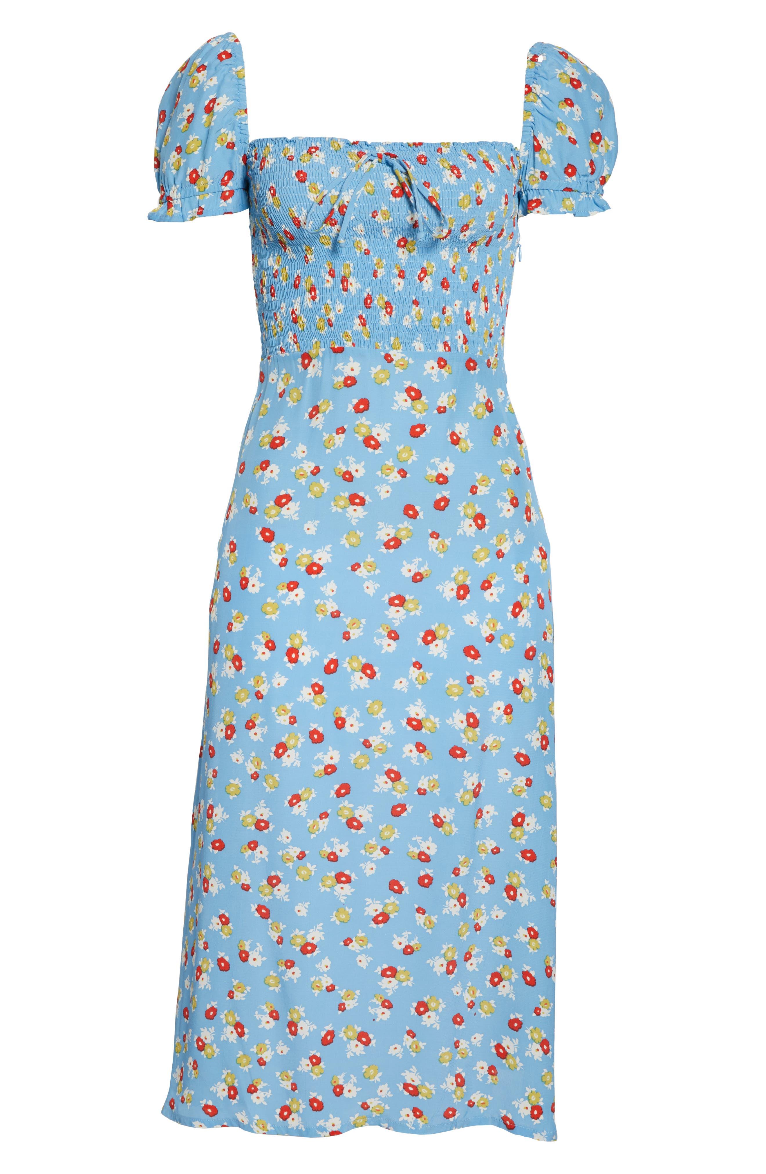 FAITHFULL THE BRAND, Castilo Jasmin Midi Dress, Alternate thumbnail 7, color, JASMIN FLORAL PRINT - BLUE