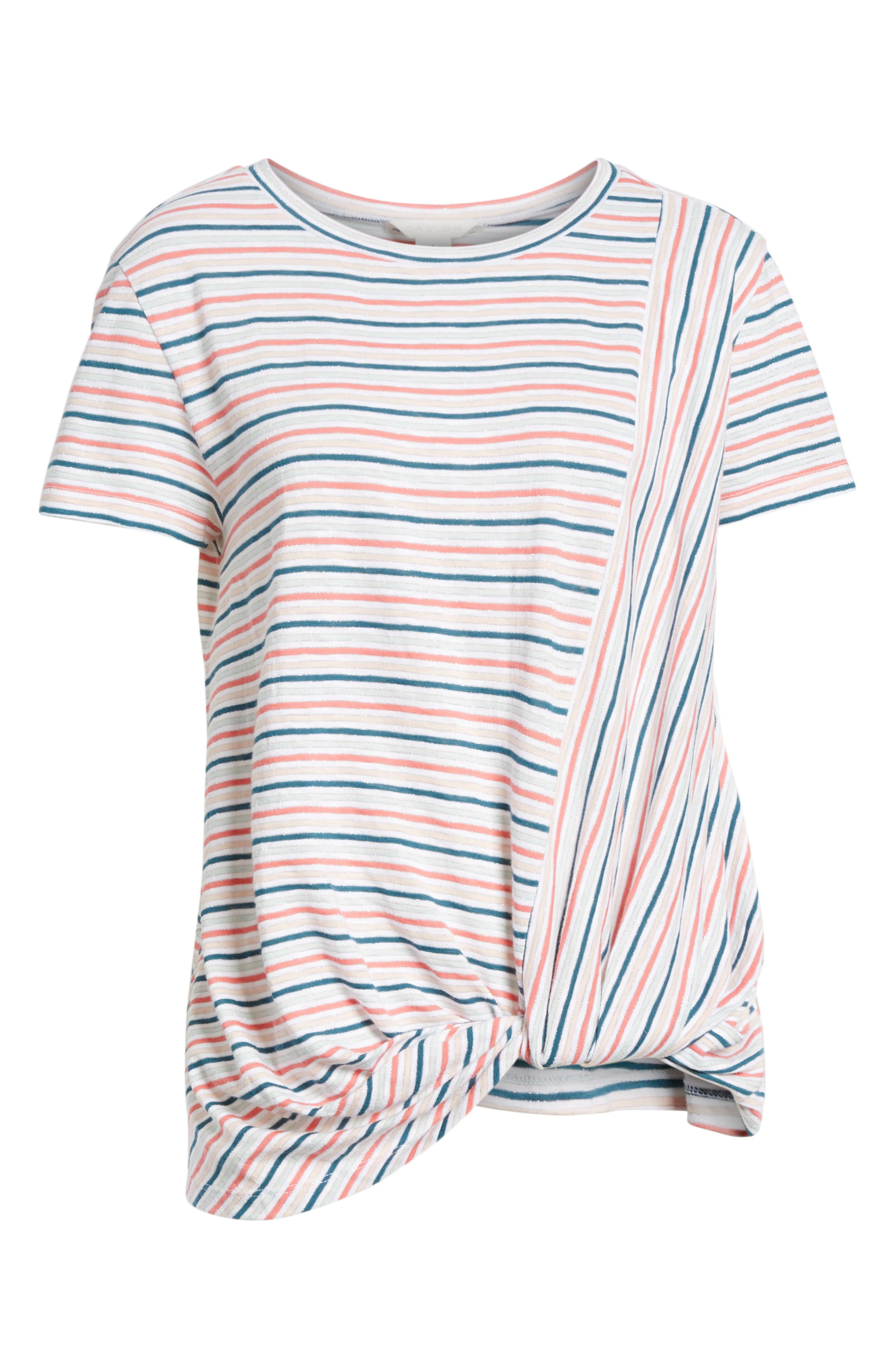 CASLON<SUP>®</SUP>, Metallic Stripe Knot Front Tee, Alternate thumbnail 6, color, IVORY- BLUE CANDY STP