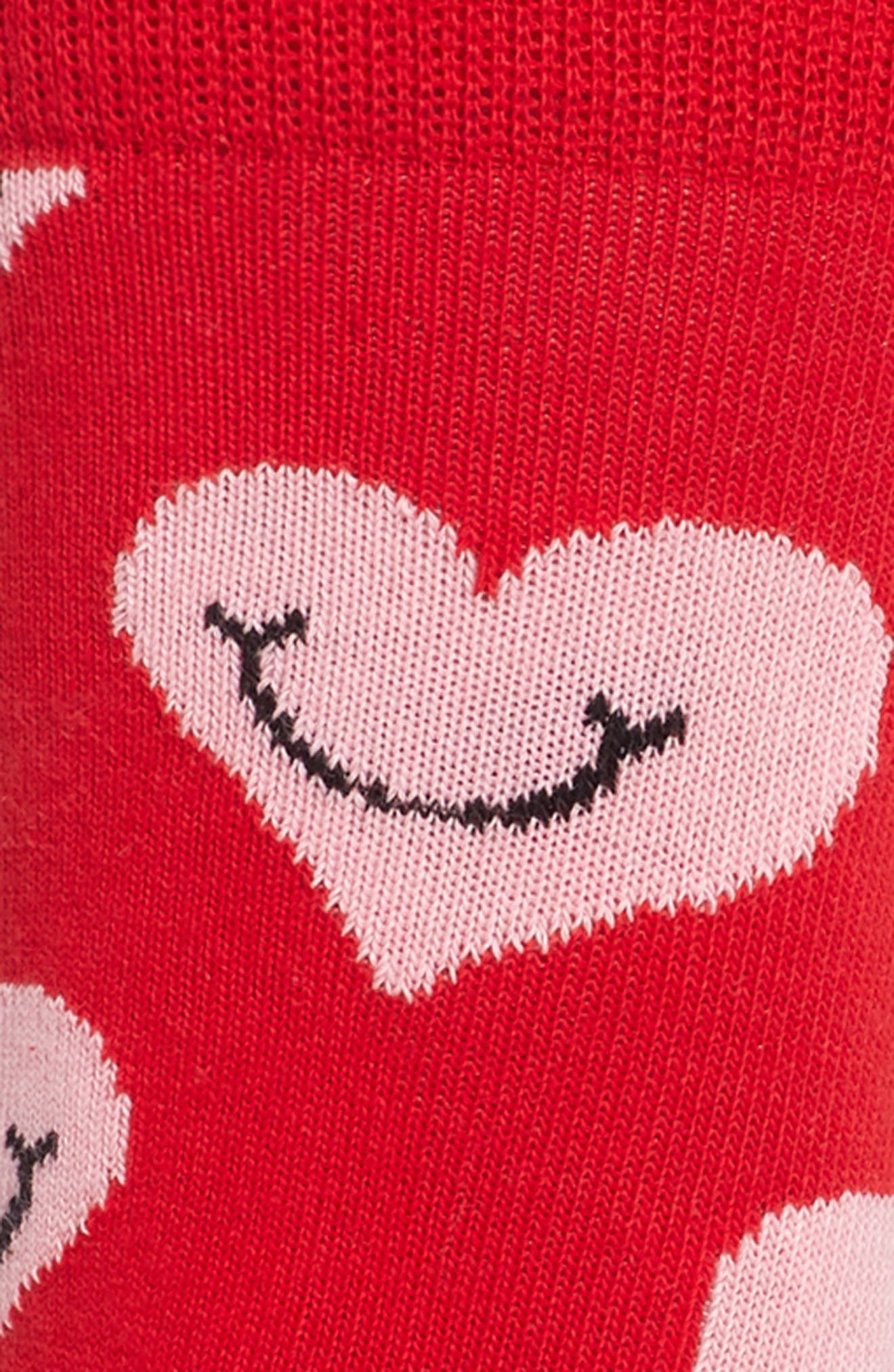 HAPPY SOCKS, Smiley Heart Crew Socks, Alternate thumbnail 2, color, 613