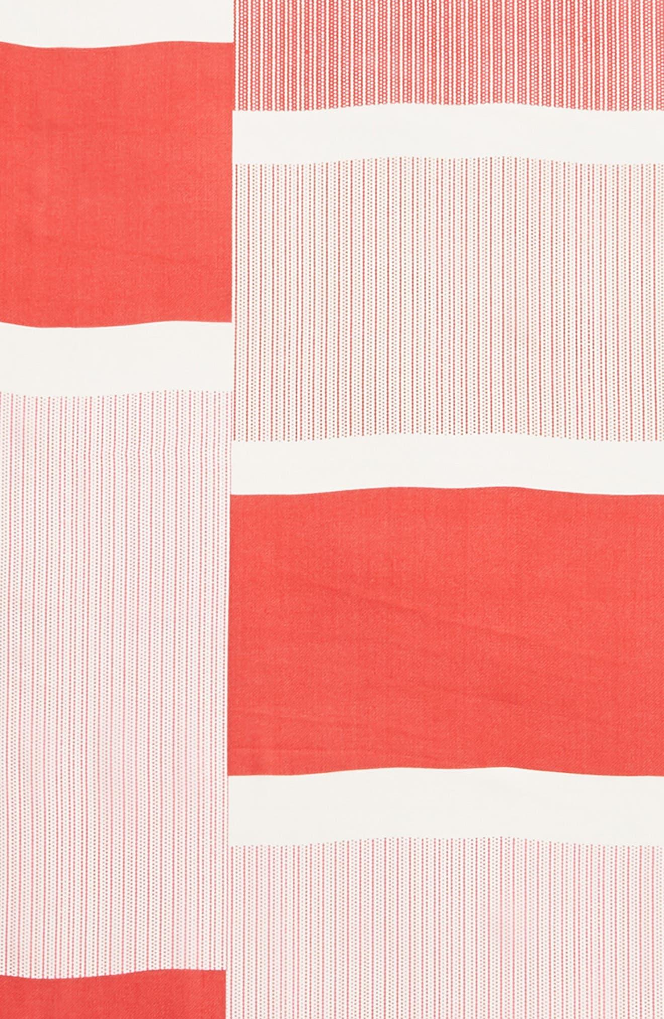 ECHO, Dotty Stripe Silk Scarf, Alternate thumbnail 4, color, RESORT RED