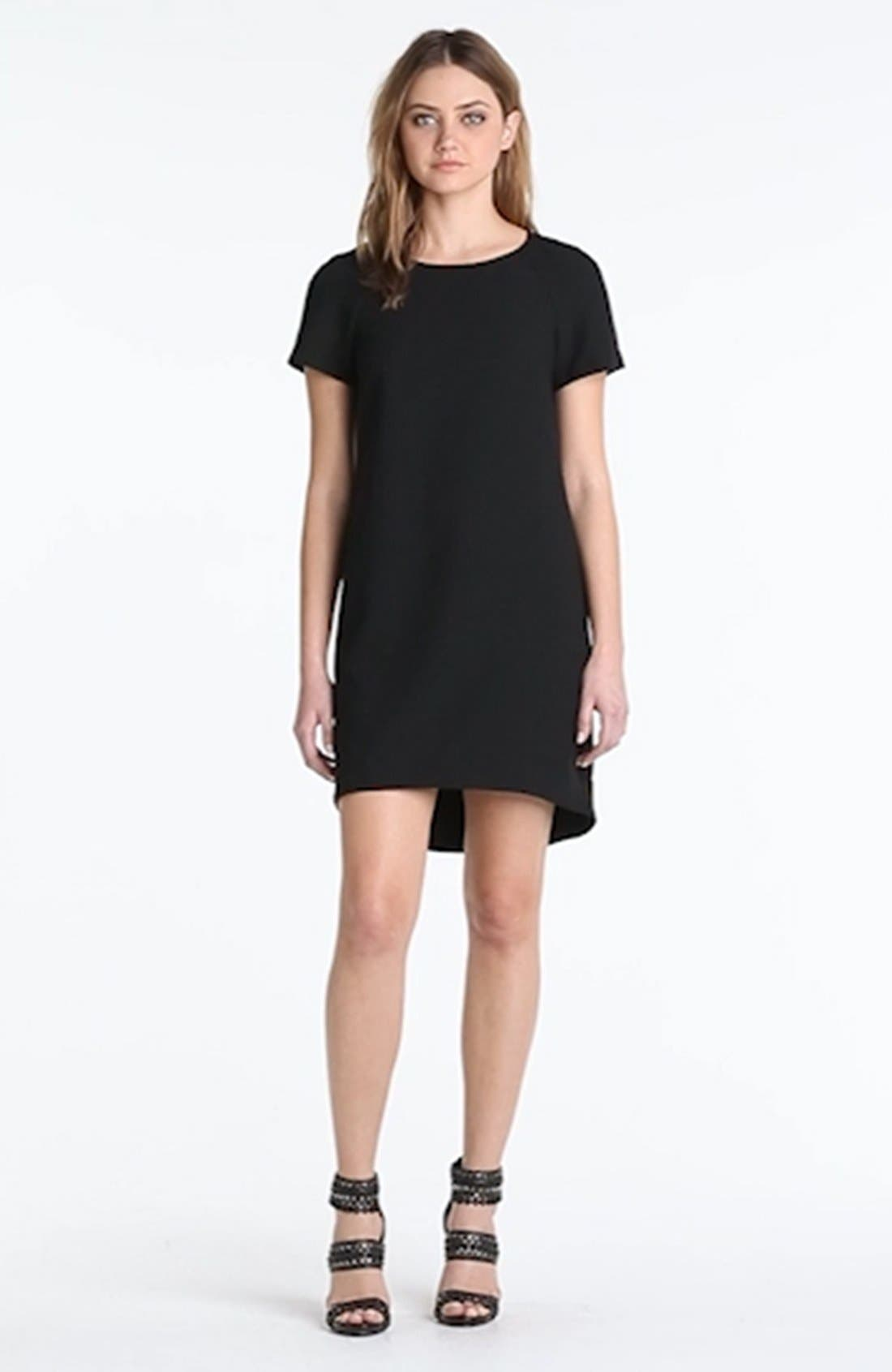 WAYF, Crepe Shift Dress, Alternate thumbnail 3, color, 001