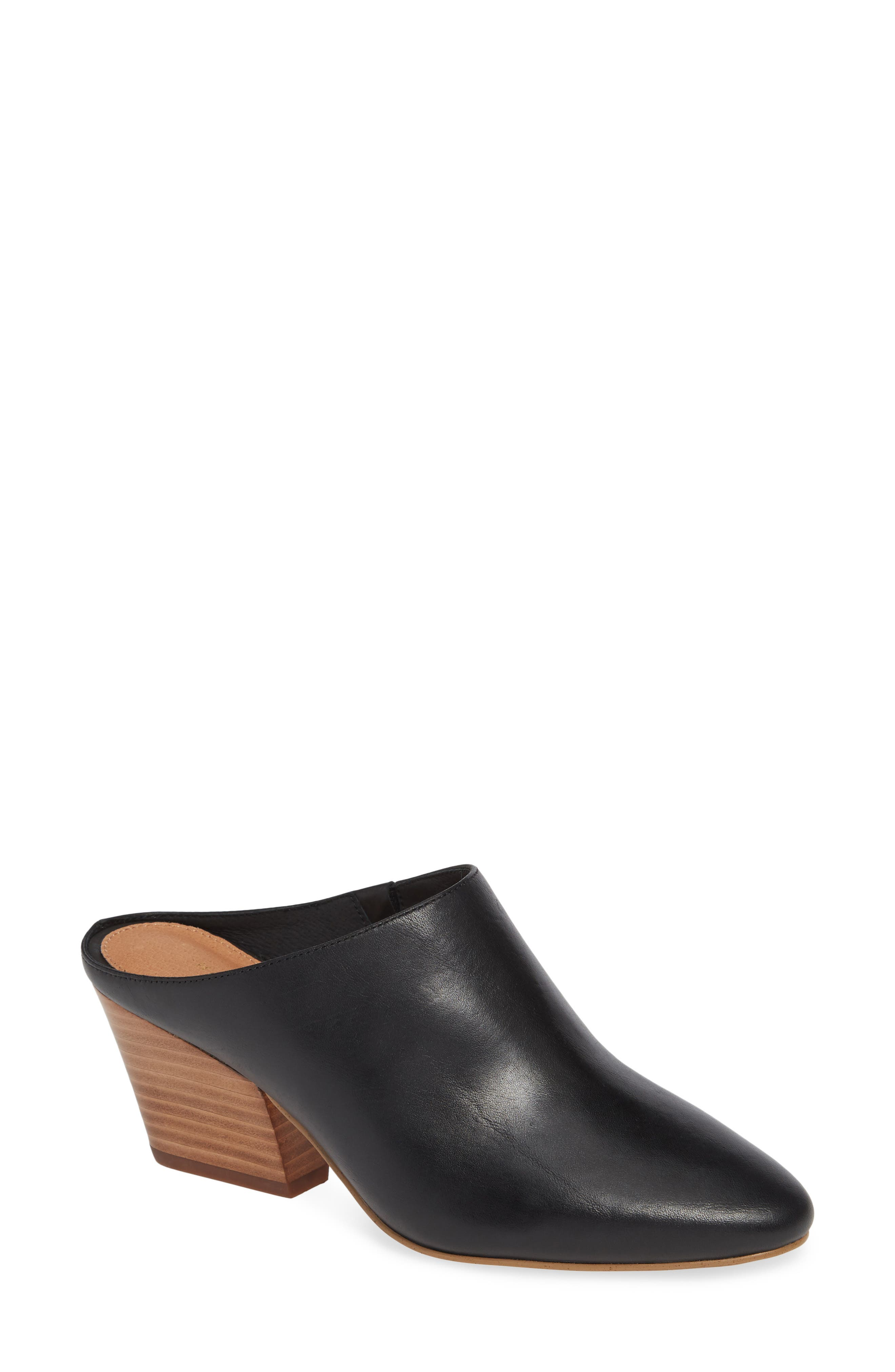 HALOGEN<SUP>®</SUP> Brielle Mule, Main, color, BLACK LEATHER