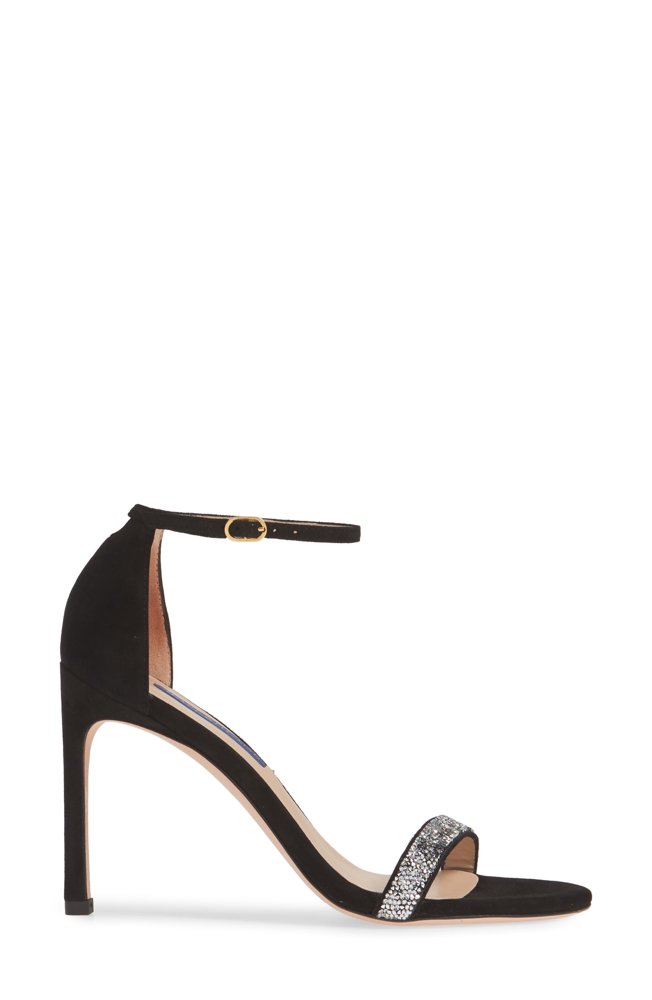 STUART WEITZMAN, Nudistsong Ankle Strap Sandal, Alternate thumbnail 3, color, BLACK