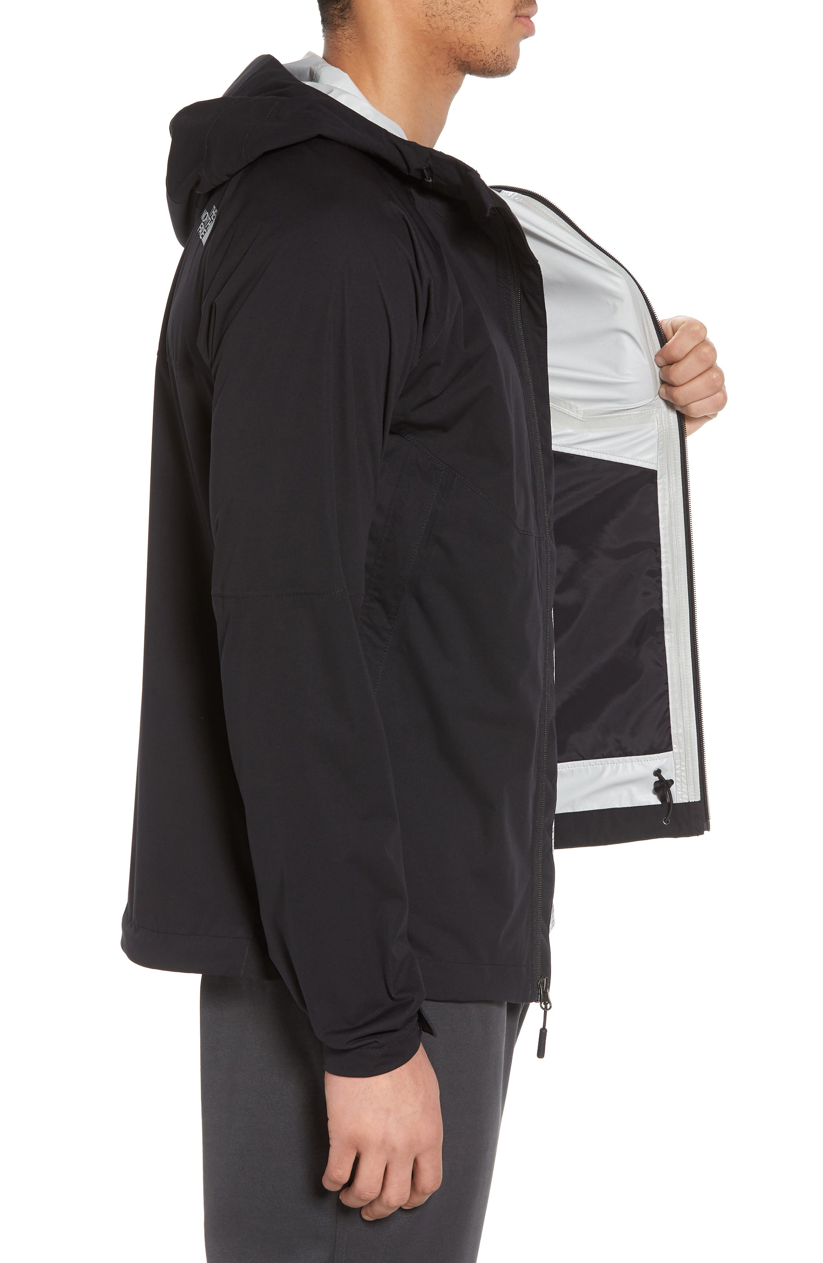THE NORTH FACE, Allproof Stretch Hooded Rain Jacket, Alternate thumbnail 4, color, 001