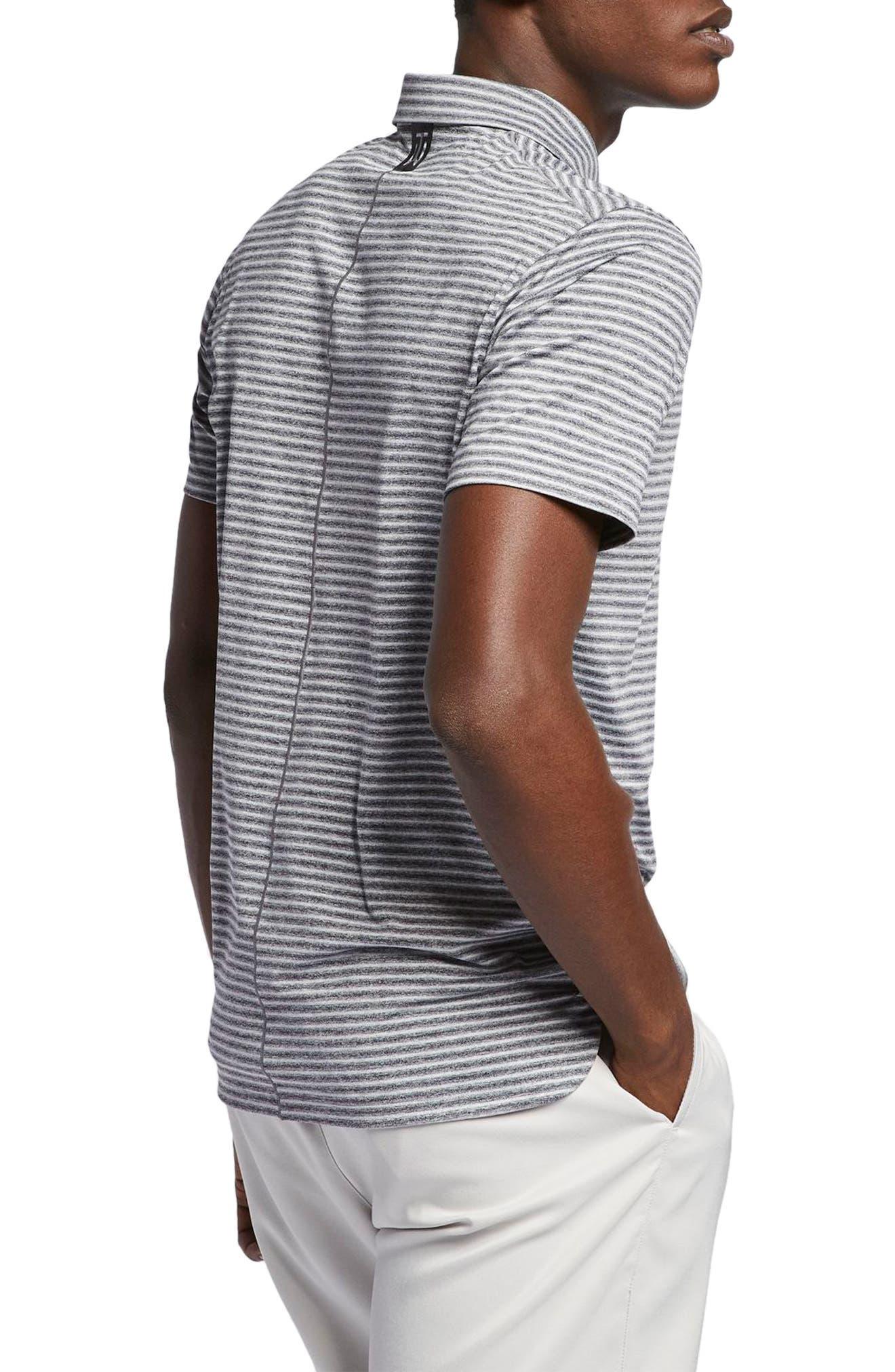 NIKE, TW Stripe Dri-FIT Polo, Alternate thumbnail 2, color, BLACK