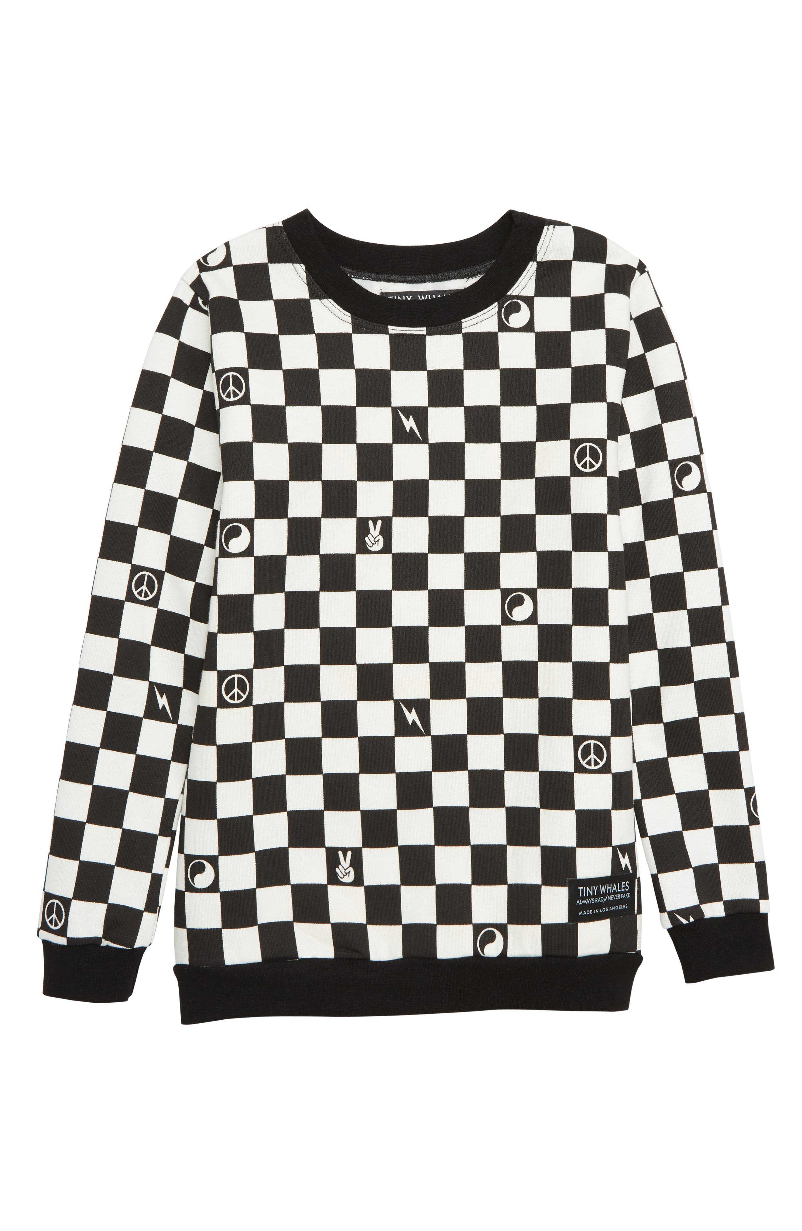 Boys Tiny Whales Checker Sweatshirt Size 10Y  Black