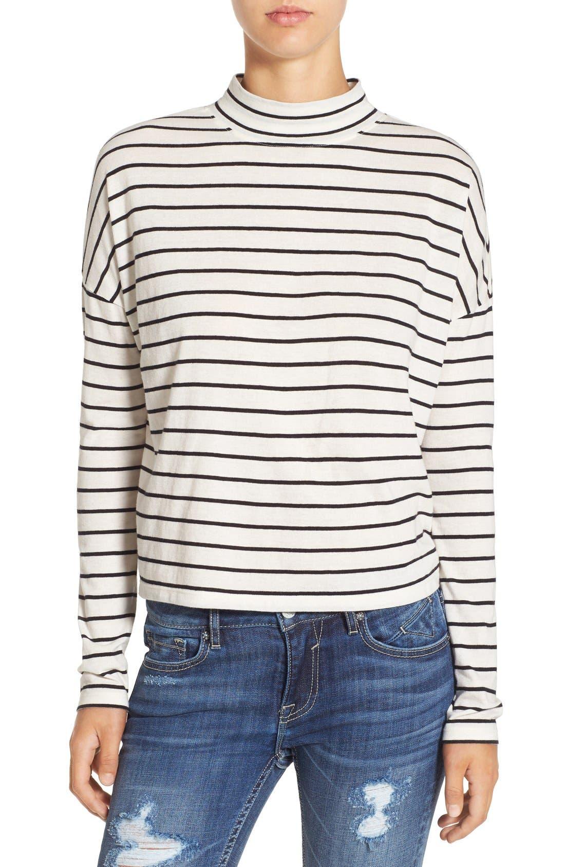 BP., Stripe Long Sleeve Mock Neck Tee, Main thumbnail 1, color, 900